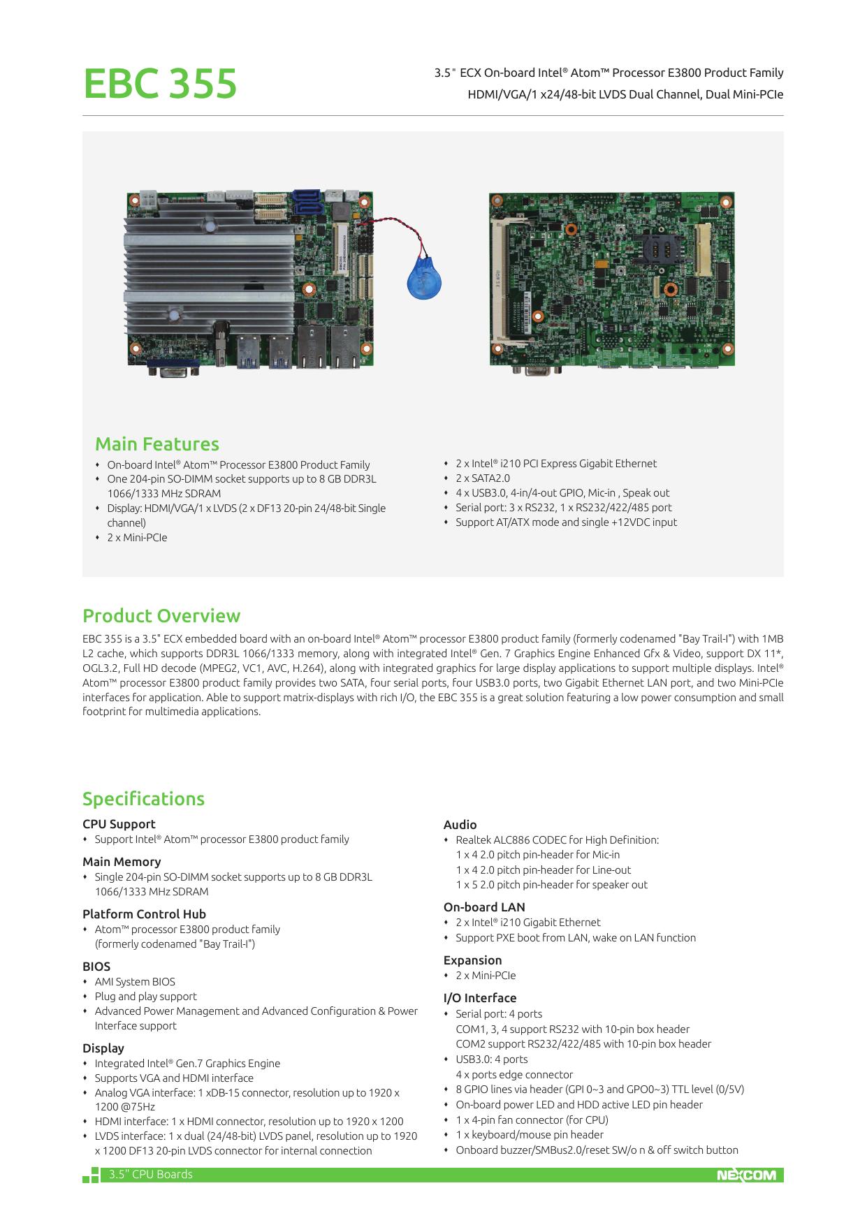 EBC 355 - NEXCOM | manualzz com