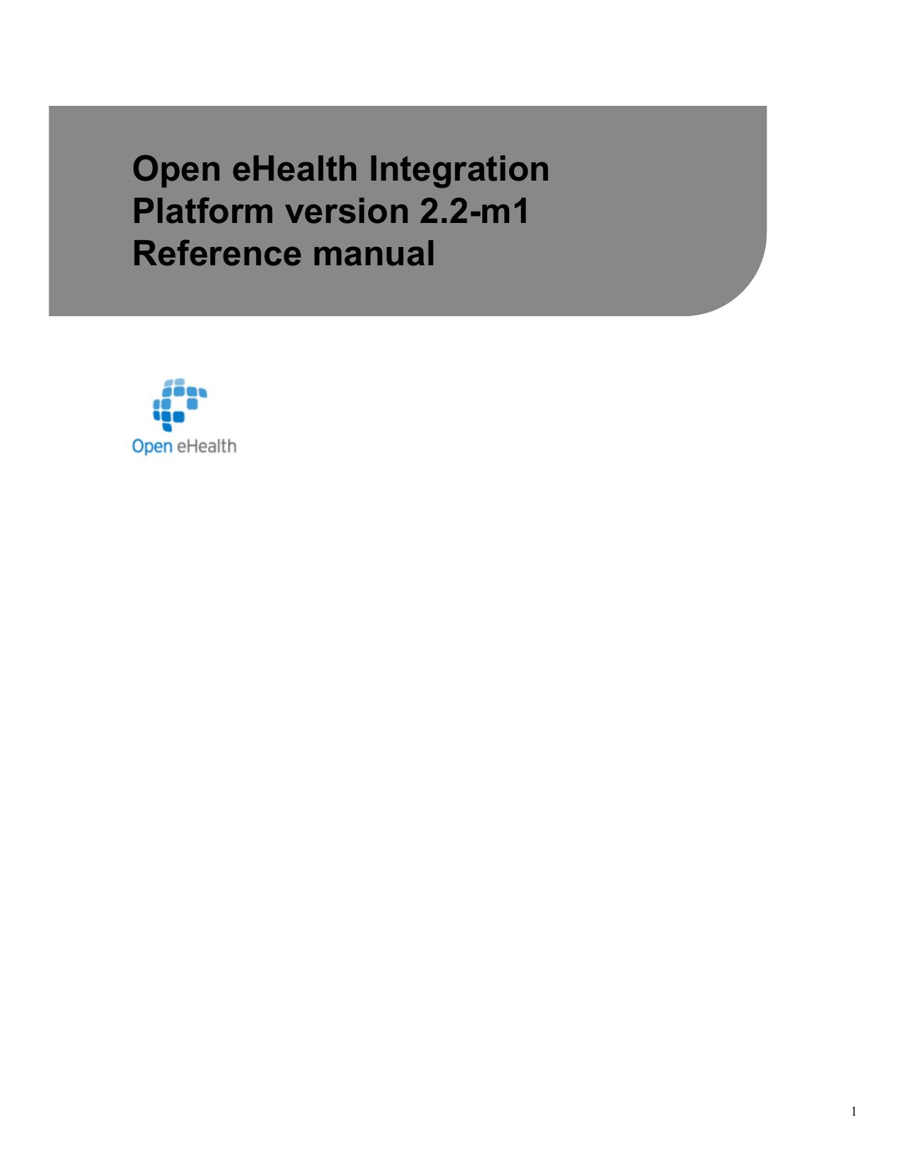 Open eHealth Integration Platform reference manual | manualzz com