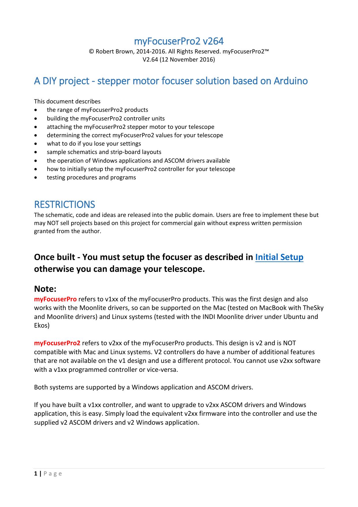 stepper motor focuser solution based on Arduino RESTRICTIONS