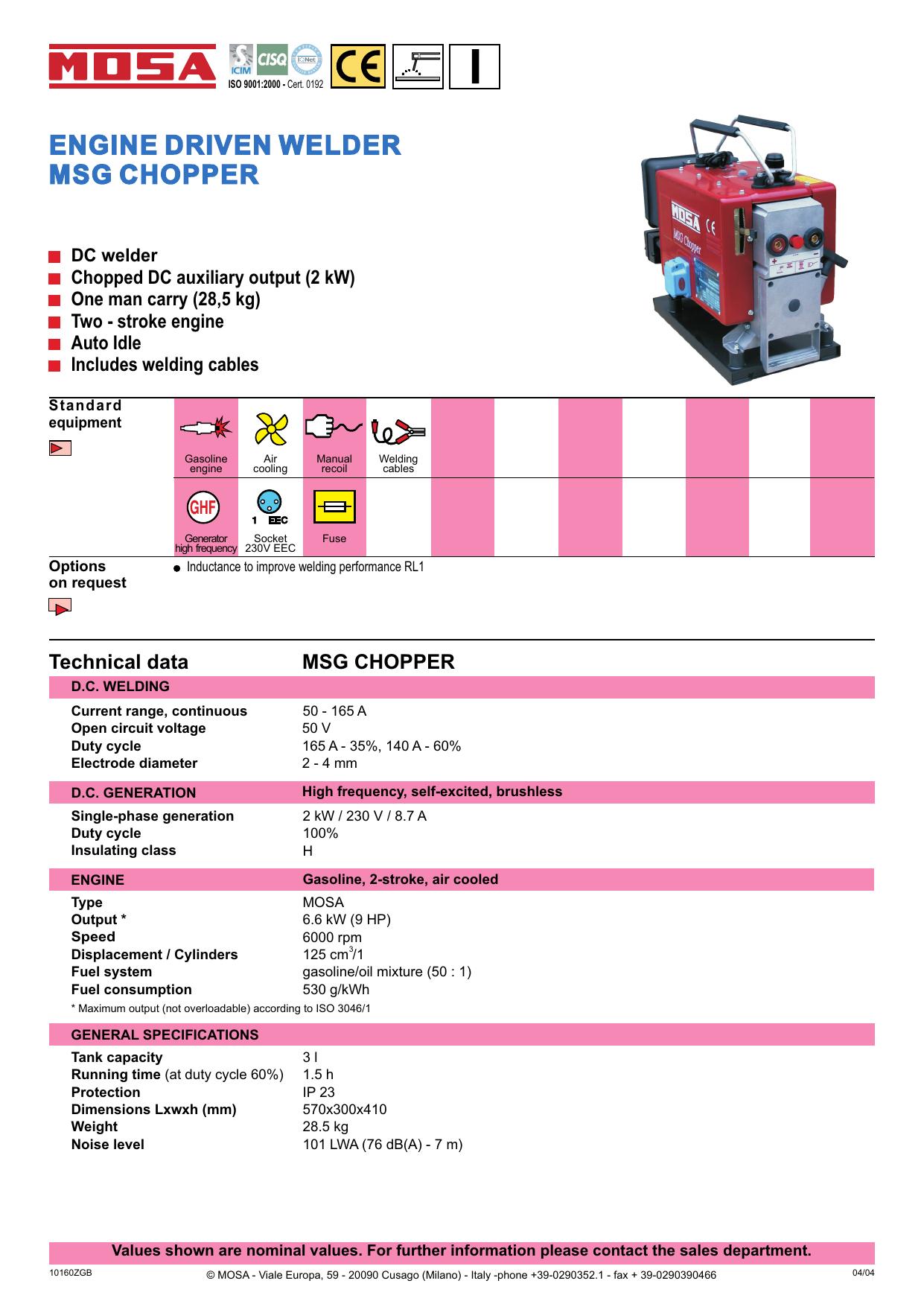 ENGINE DRIVEN WELDER MSG CHOPPER   manualzz com