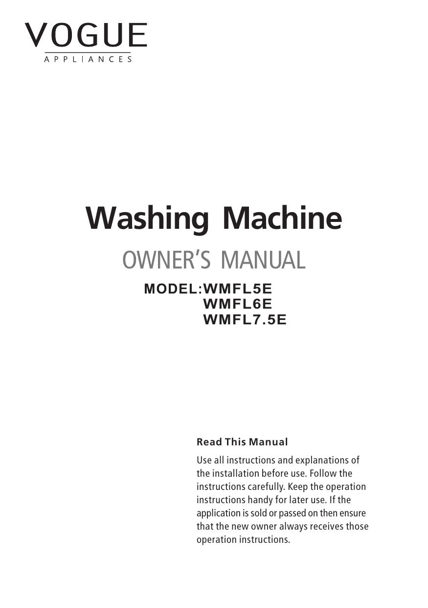 VOGUE E Series Washing Machine Manual |