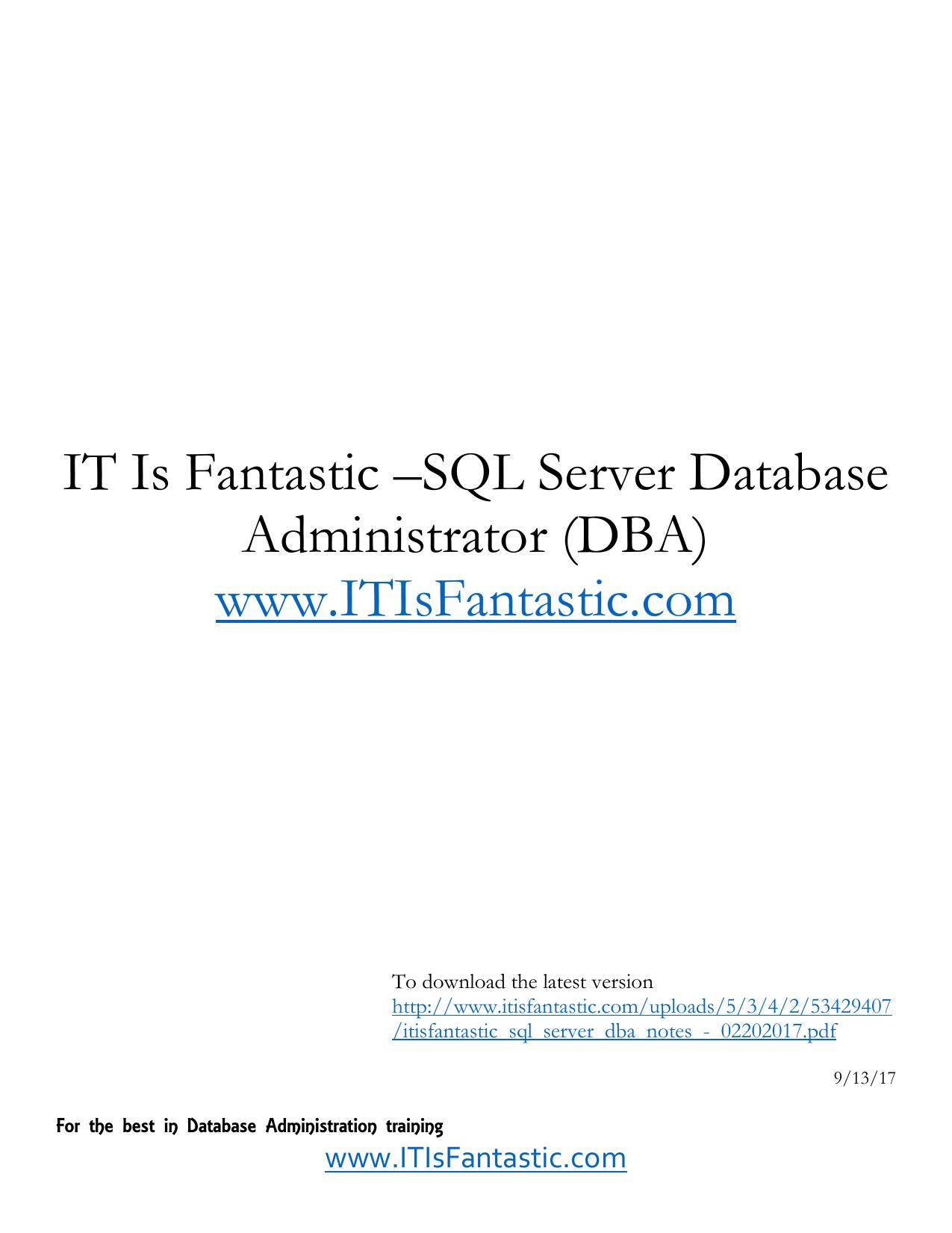 IT Is Fantastic –SQL Server Database Administrator (DBA) www ... Db Backup Wiringdiagram Sql on