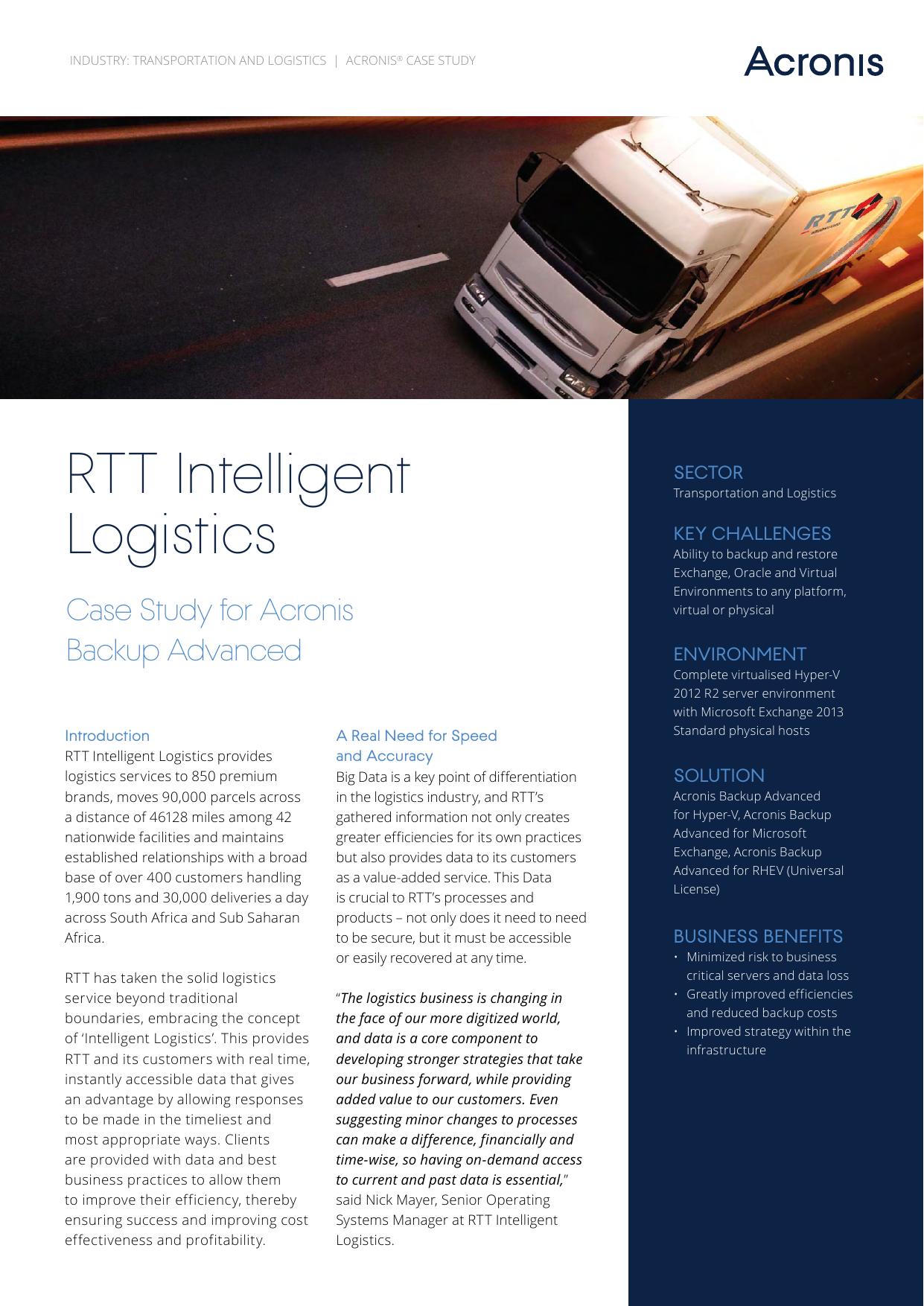 RTT Intelligent Logistics Case Study for Acronis | manualzz com