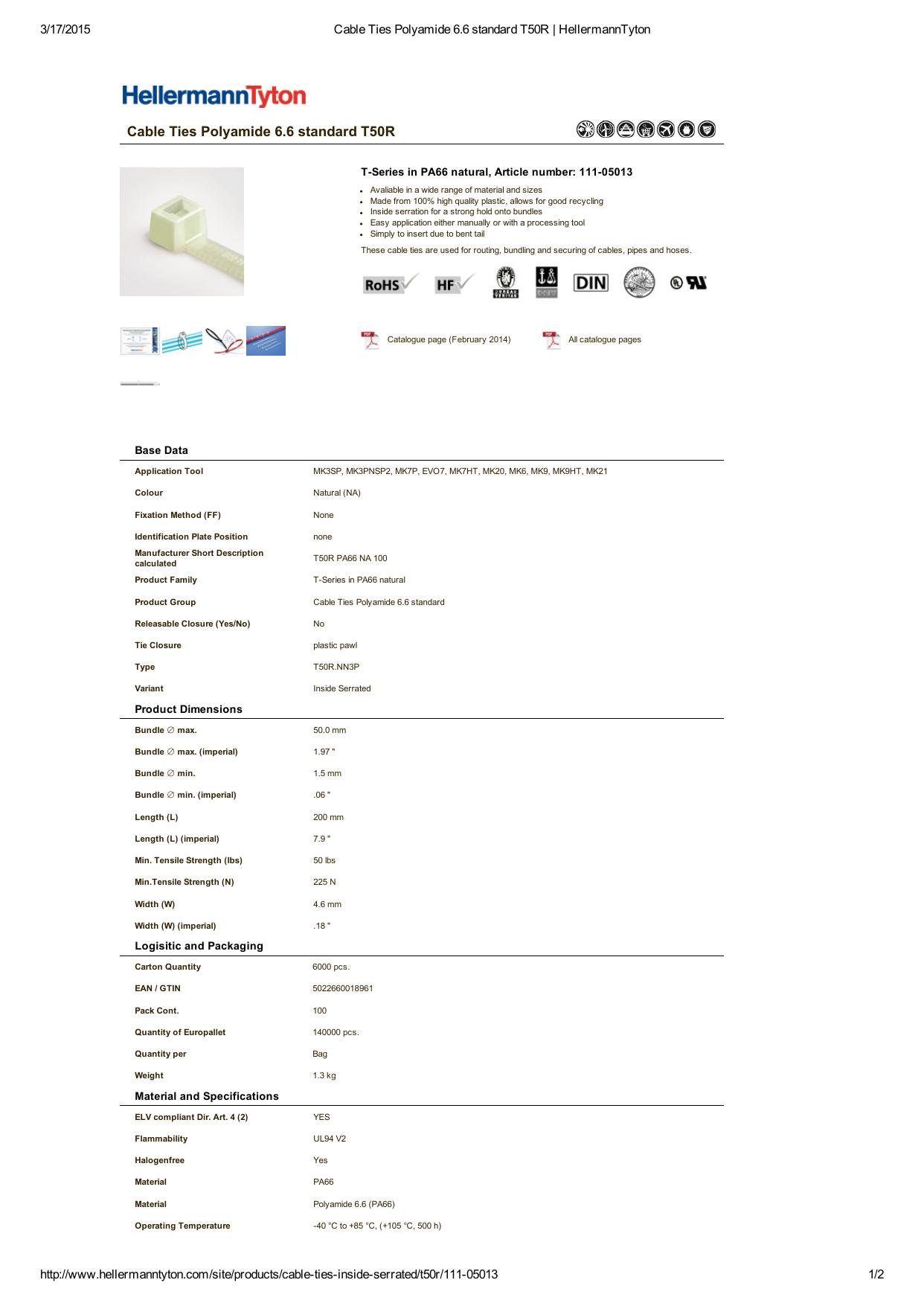 Black Pack of 100 by Hellermann Tyton Hellermann Tyton T50R0C2 Standard Cable Tie 50lb Tensile Strength PA66 8 Long