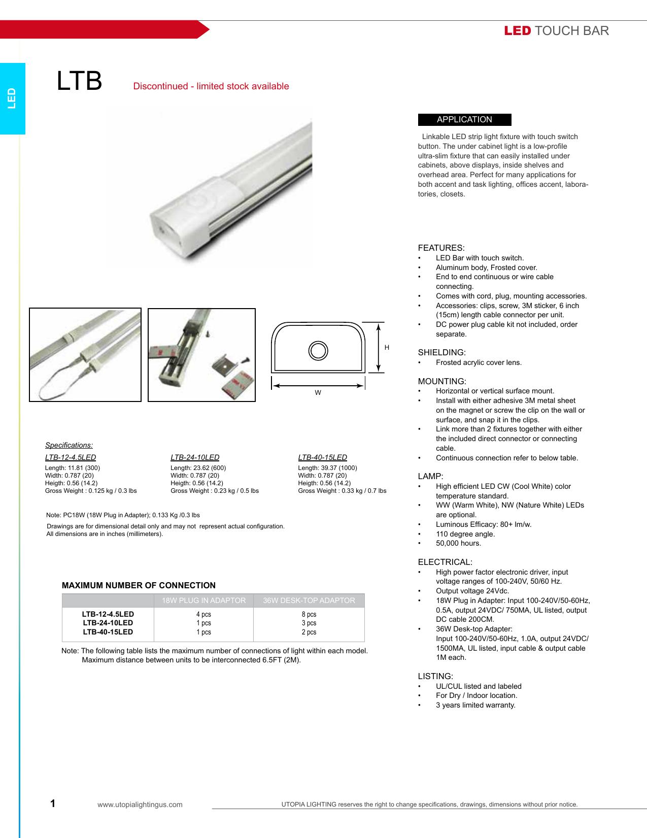 led touch bar utopia lighting manualzz com rh manualzz com
