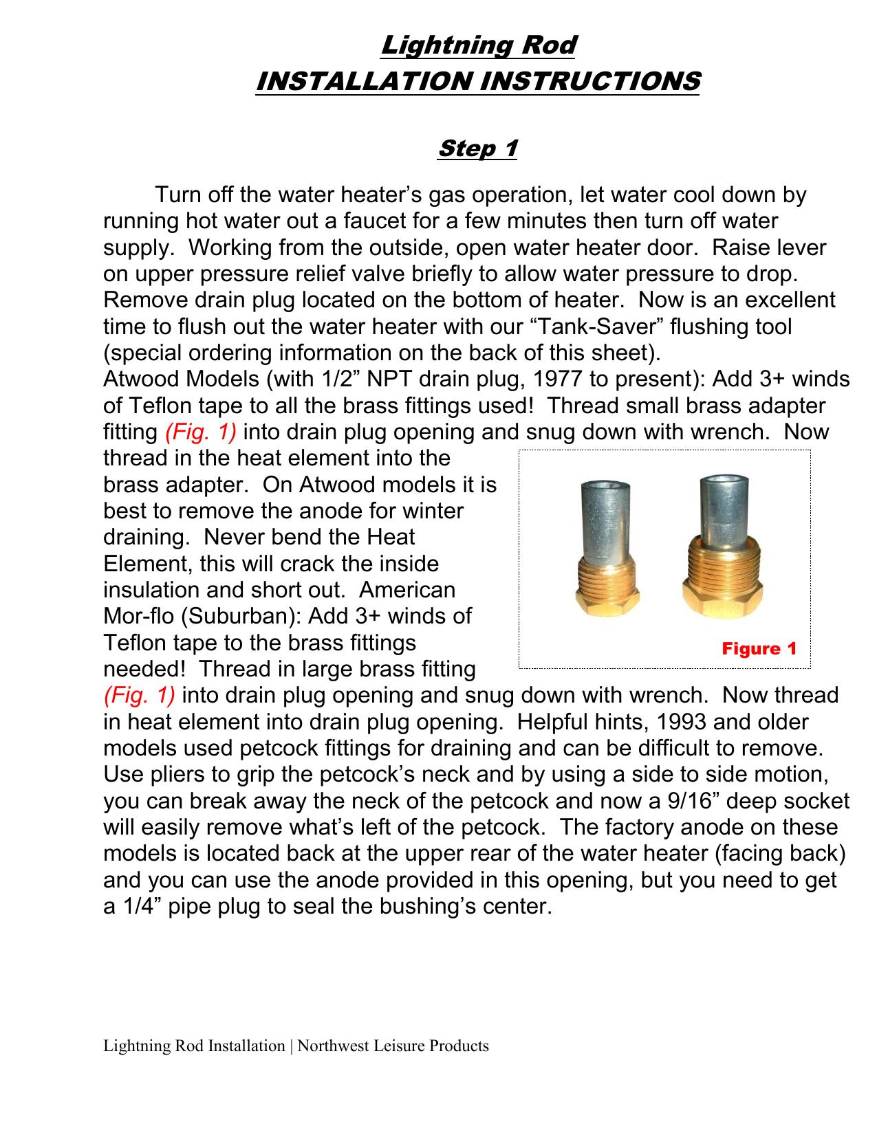 Lightning Rod Rv Water Heater Kit Instructions