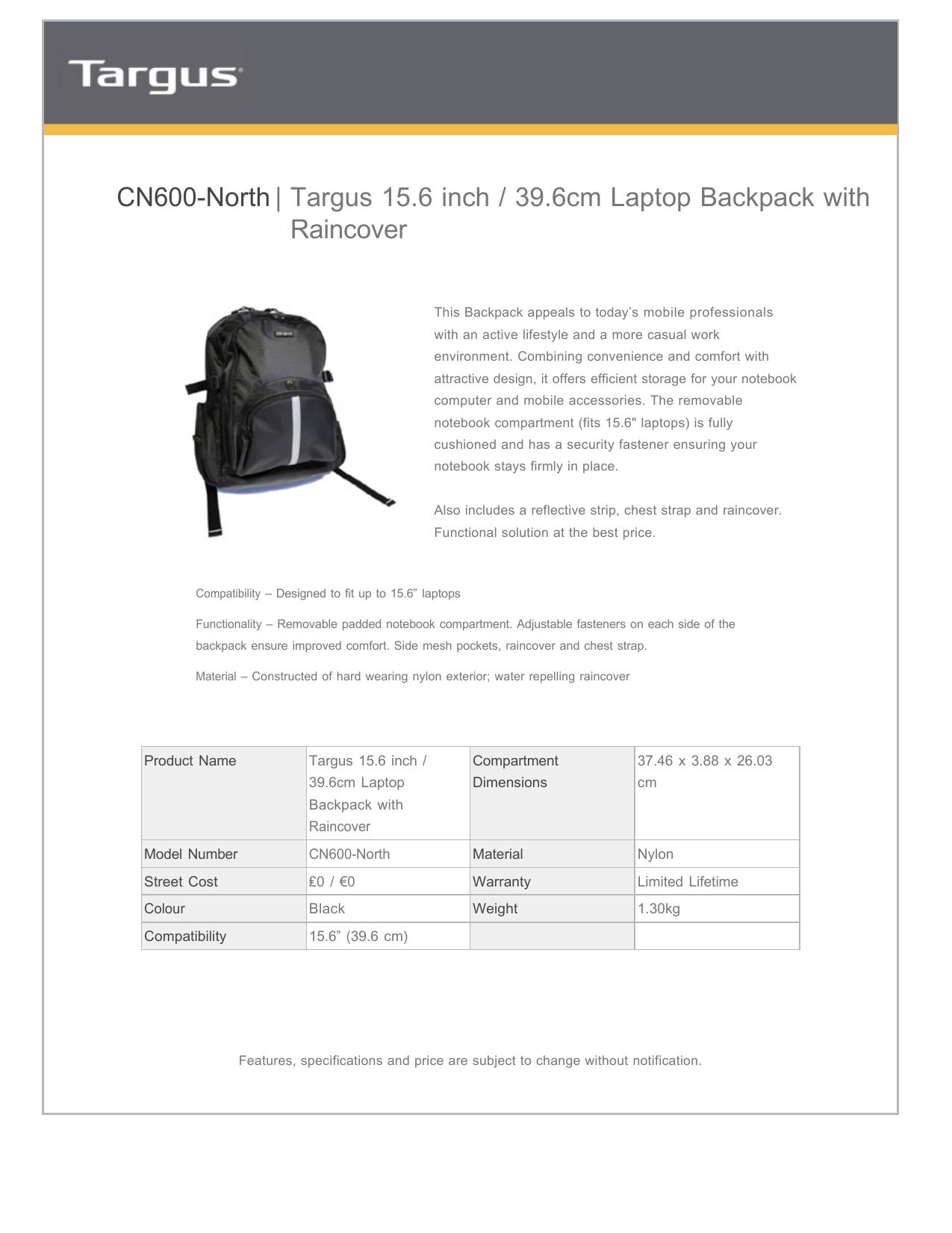 Targus 156 Inch 396cm Laptop Backpack With Ma Manualzzcom