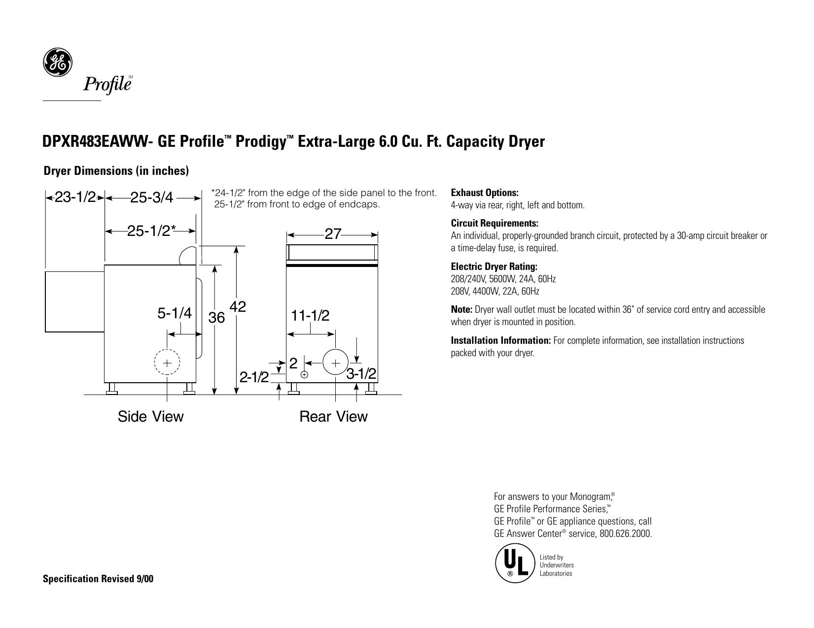 DPXR483EAWW- GE Profile™ Prodigy™ Extra-Large 6.0 | Manualzz | Ge Profile Prodigy Wiring Diagram |  | Manualzz