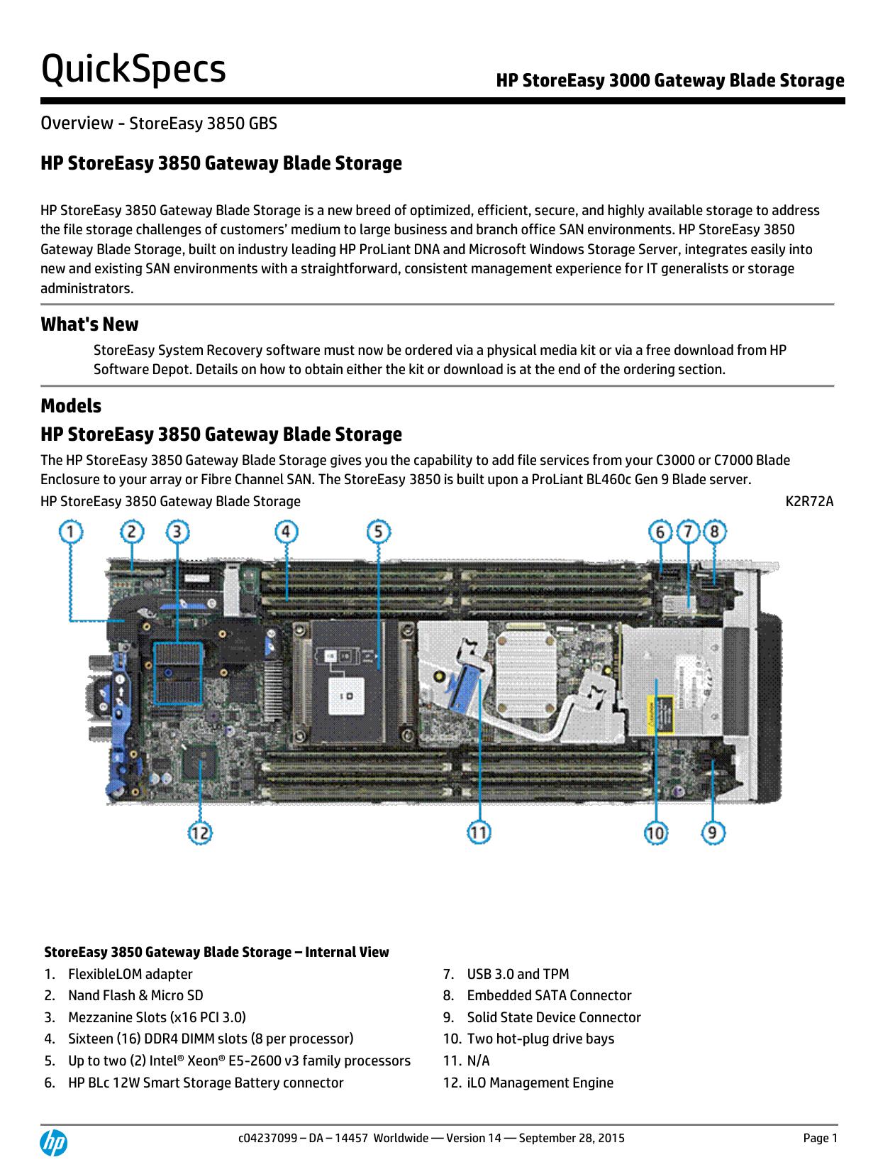 HP StoreEasy 3000 Gateway Storage Blade | manualzz com