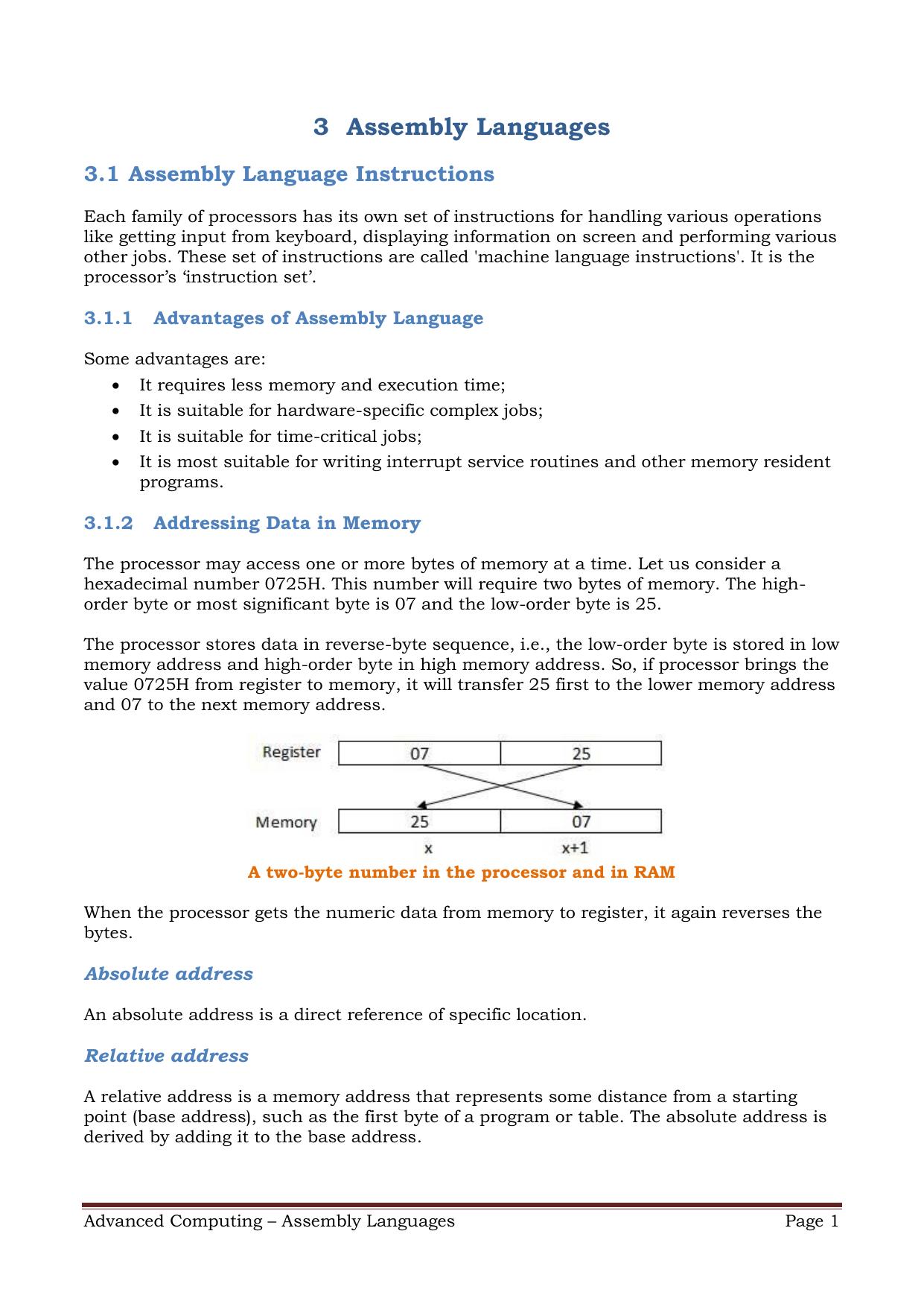 Assembly Languages | manualzz com