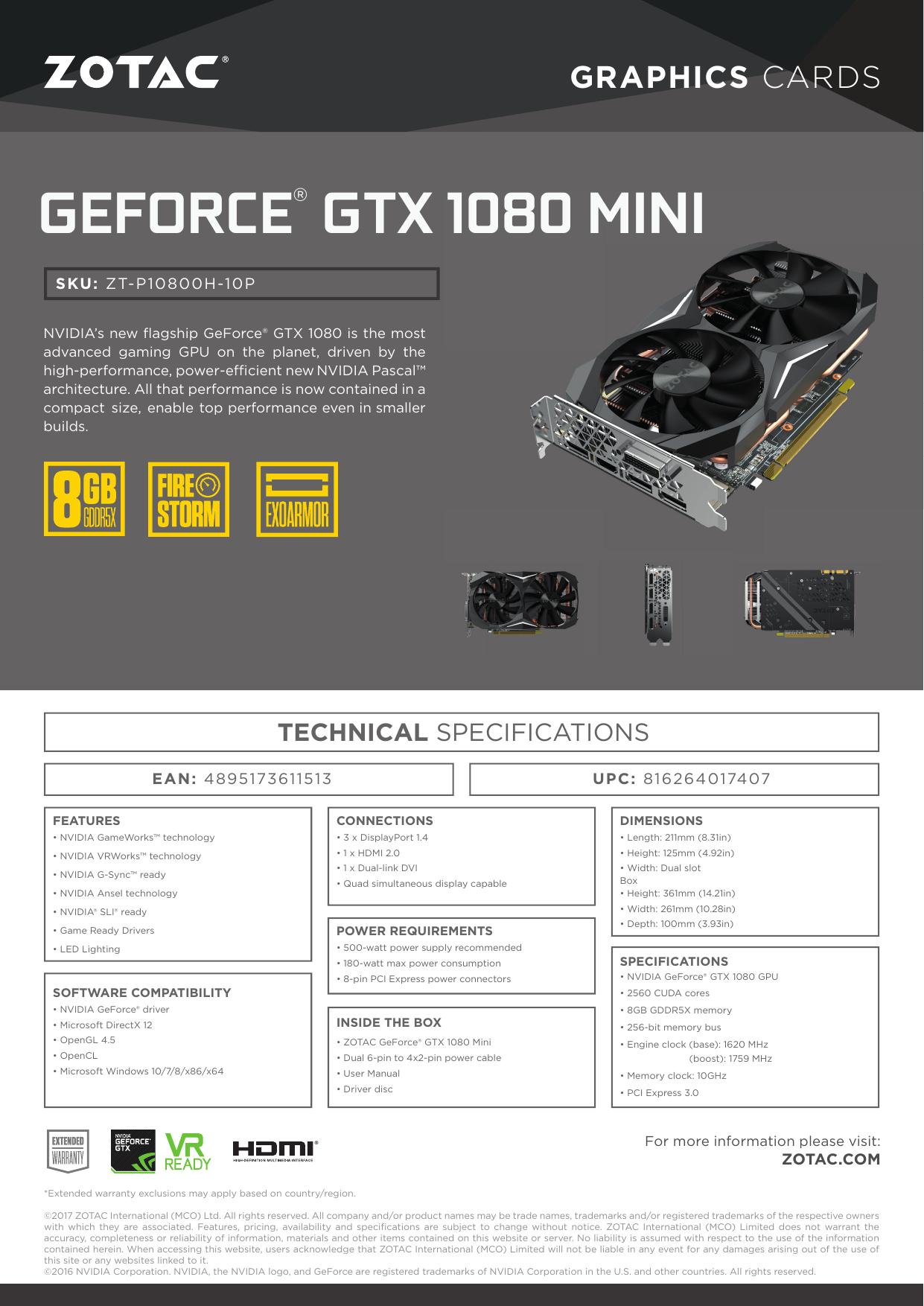 geforce® gtx 1080 mini | manualzz com