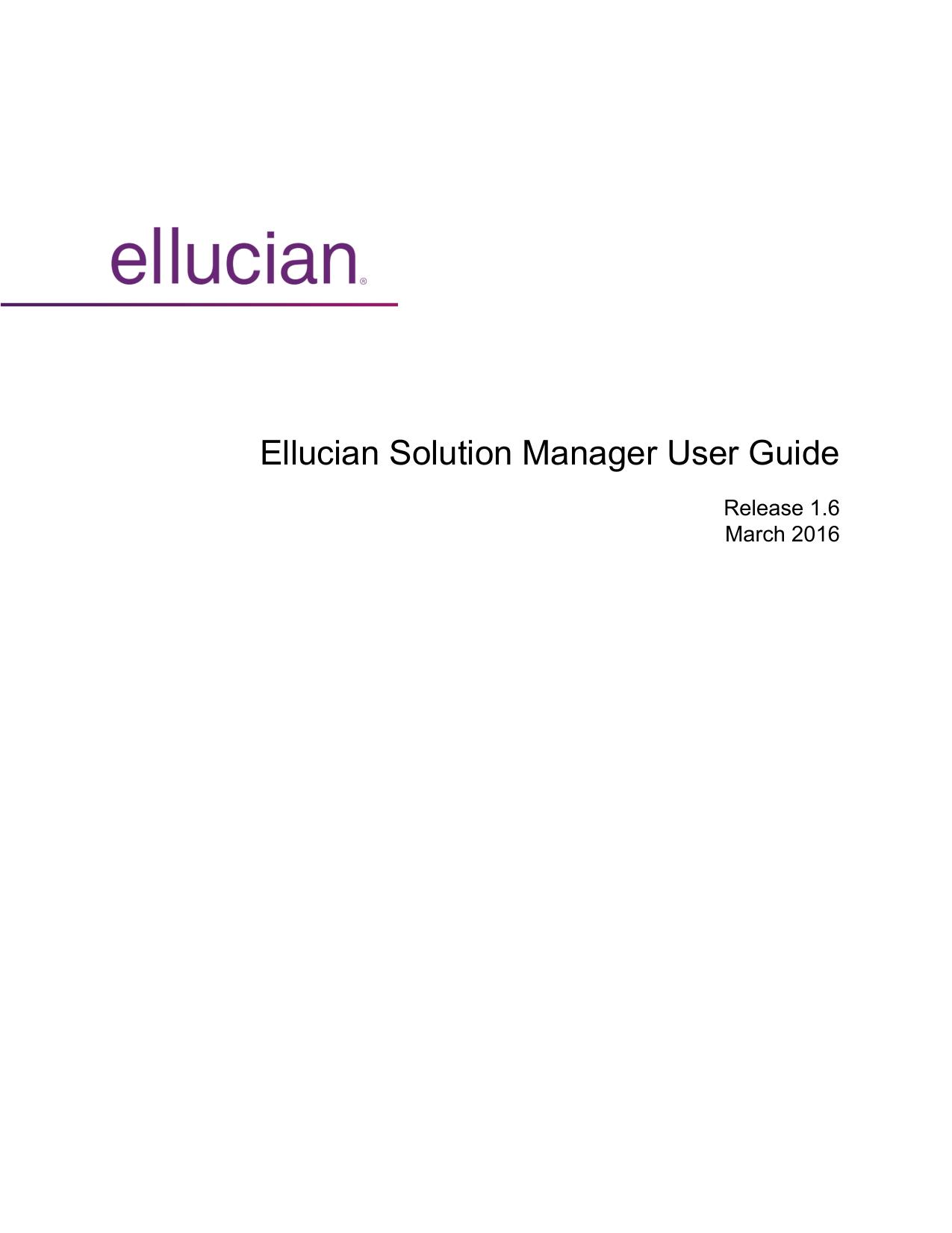 Ellucian Solution Manager User Guide | manualzz com