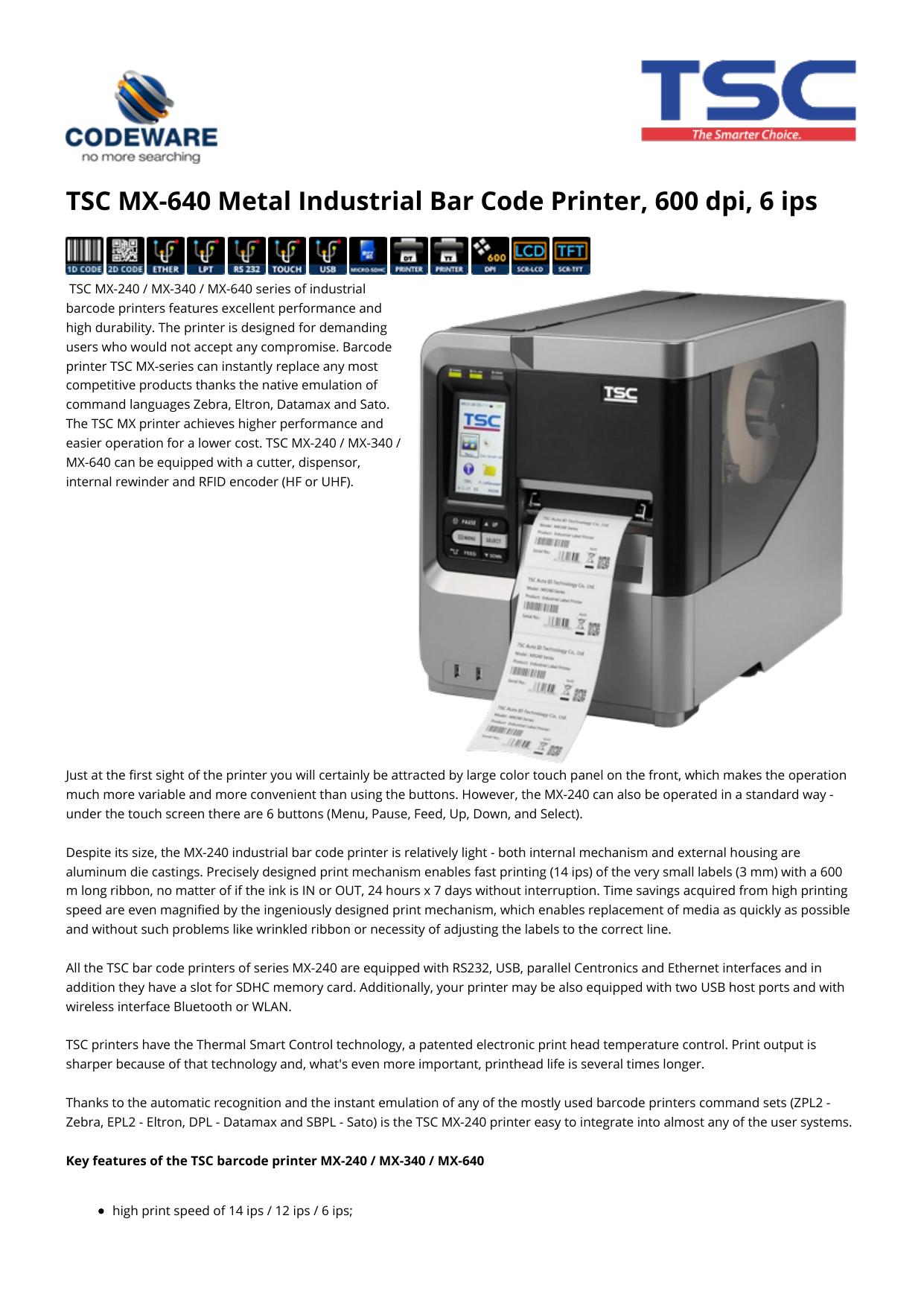 TSC MX-640 Metal Industrial Bar Code Printer, 600 dpi
