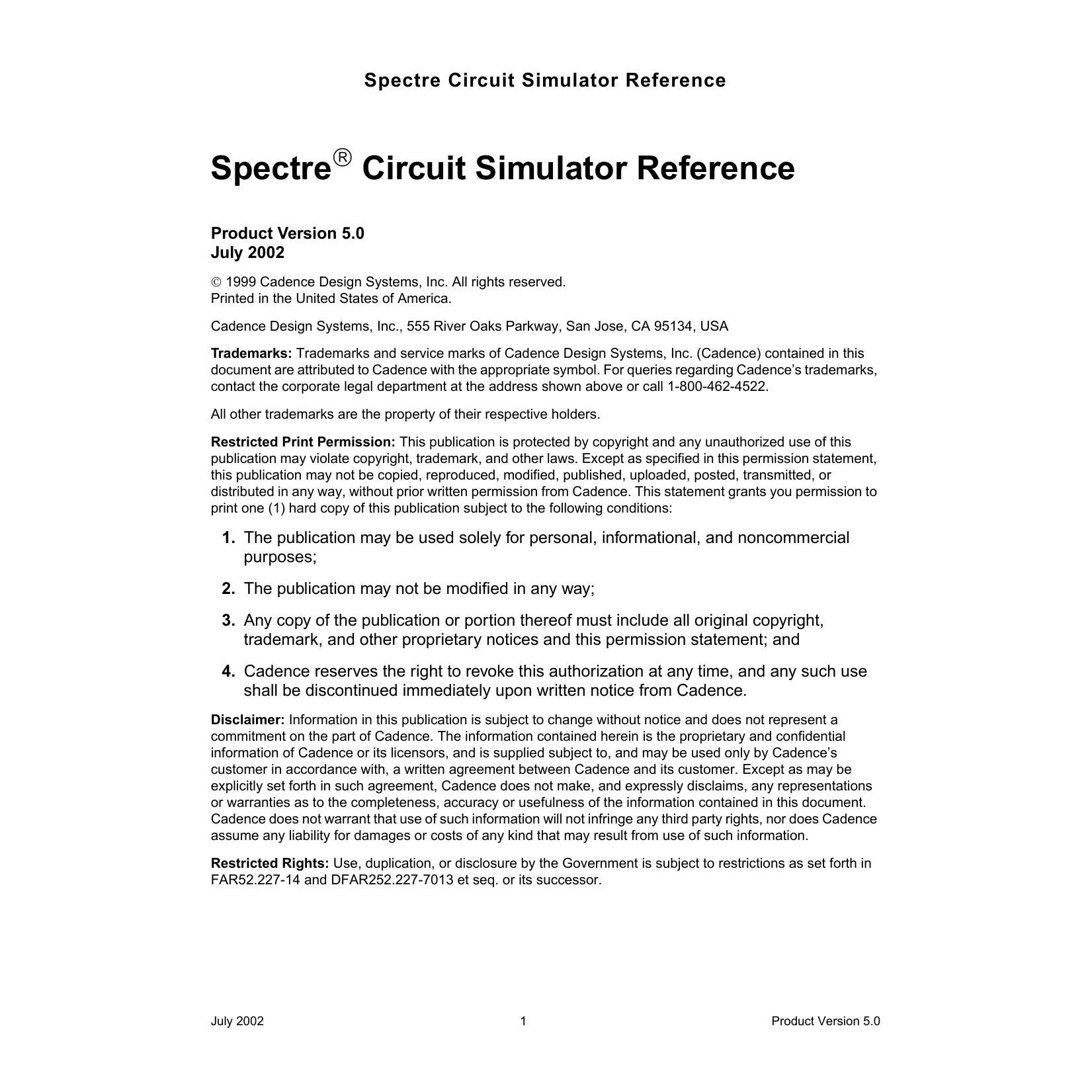 Spectre Circuit Simulator Reference | manualzz com