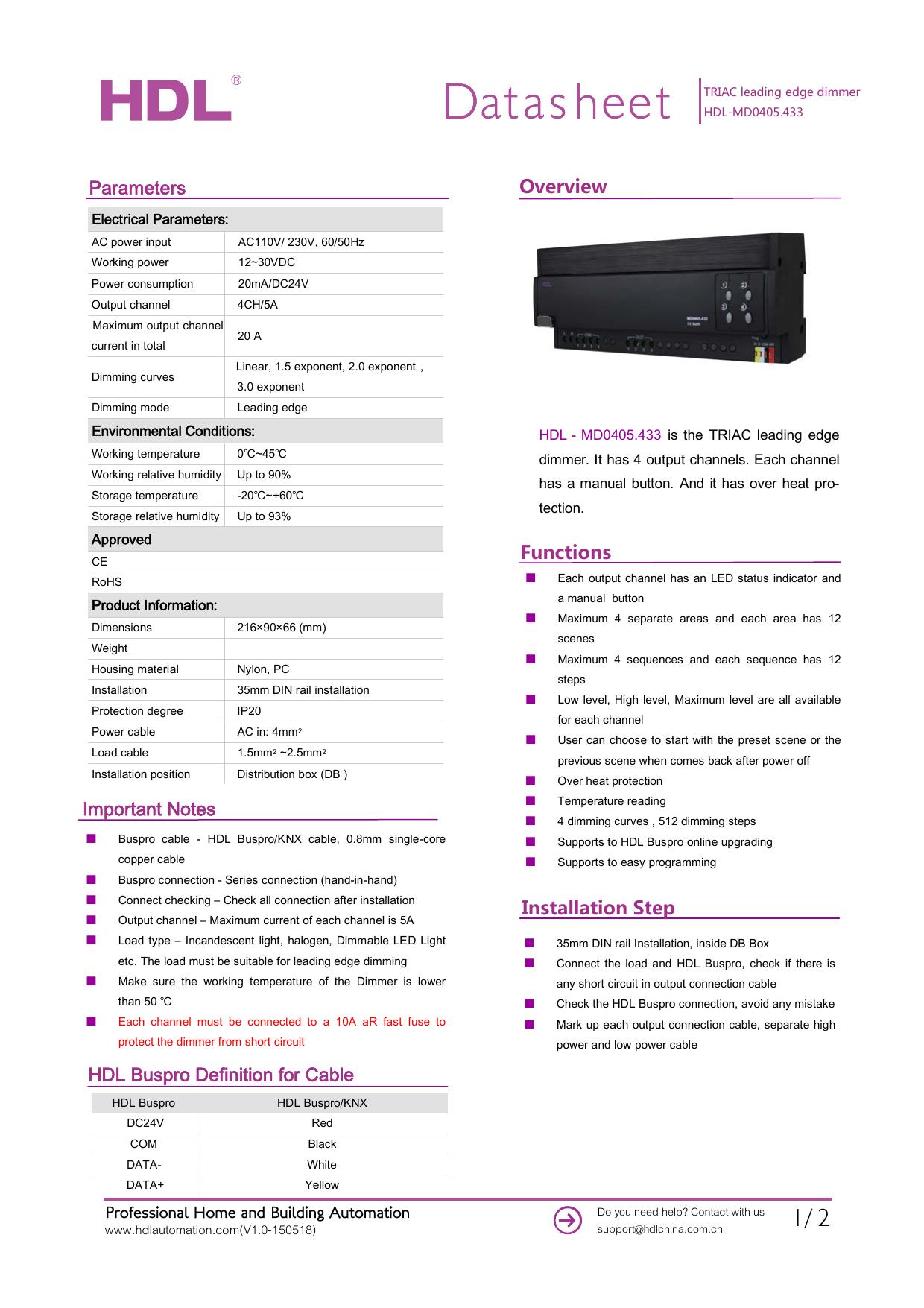 HDL-MD0405 433 TRIAC leading edge dimmer | manualzz com