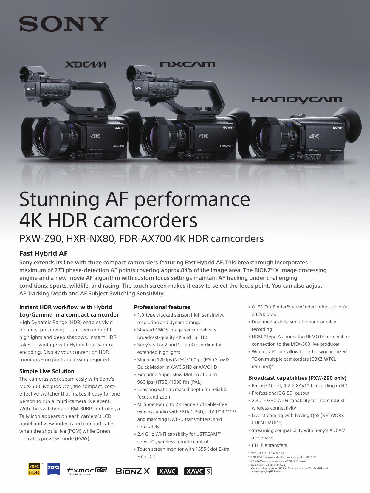 Stunning AF performance 4K HDR camcorders   manualzz com