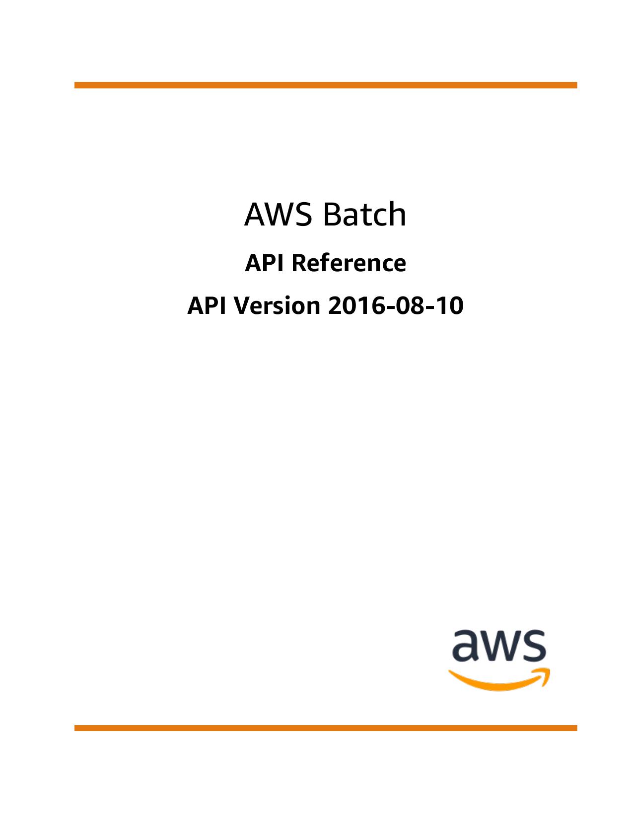 AWS Batch - API Reference   manualzz com