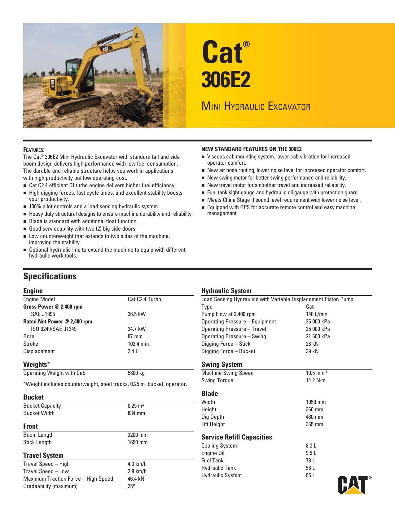 Small Specalog for Cat 306E2 Mini Hydraulic Excavator
