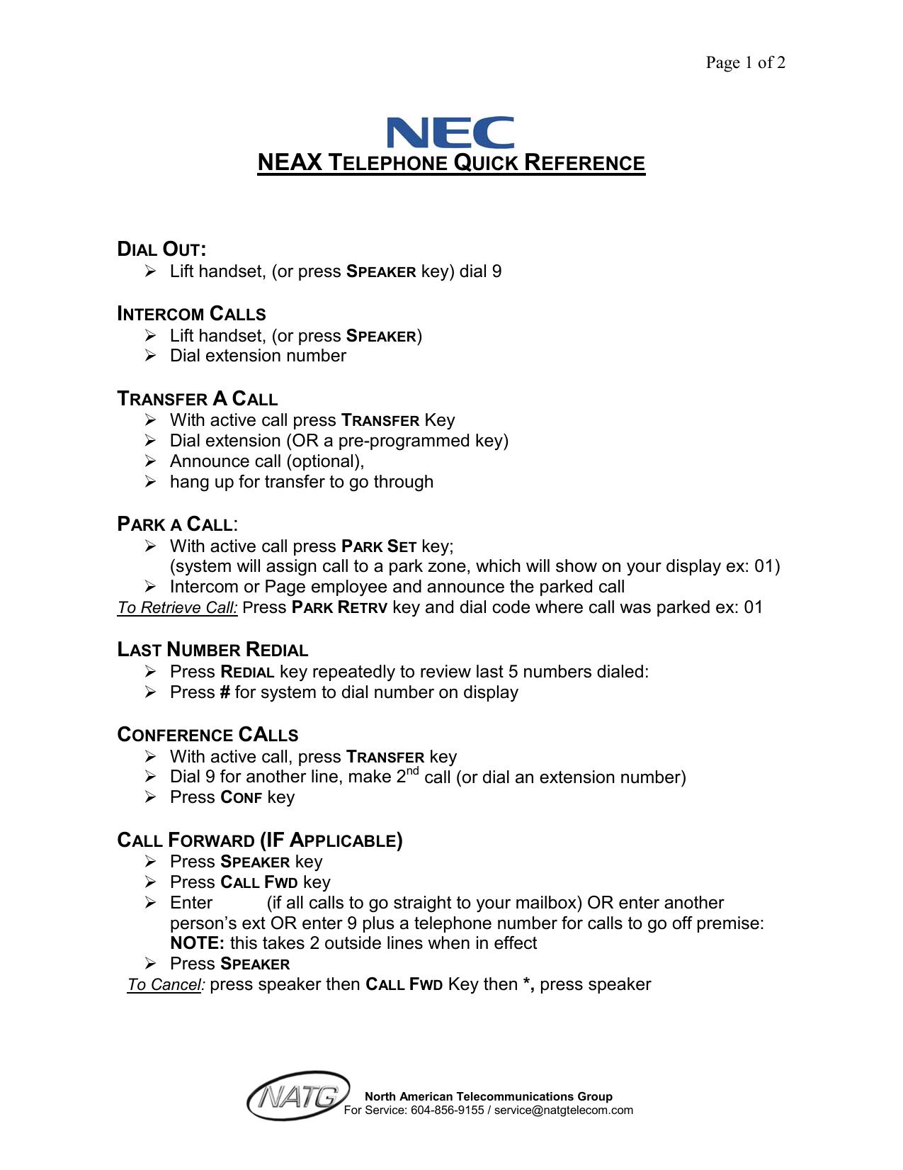 quick reference for nec telephones | manualzz com