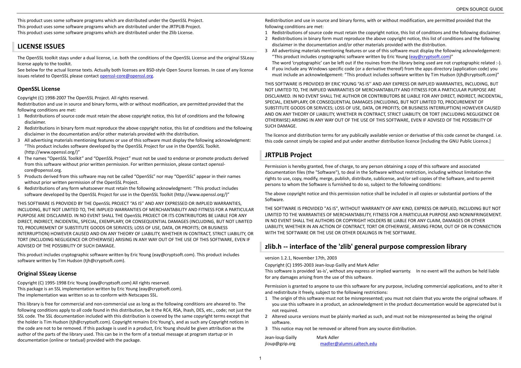 LICENSE ISSUES JRTPLIB Project zlib h - | manualzz com
