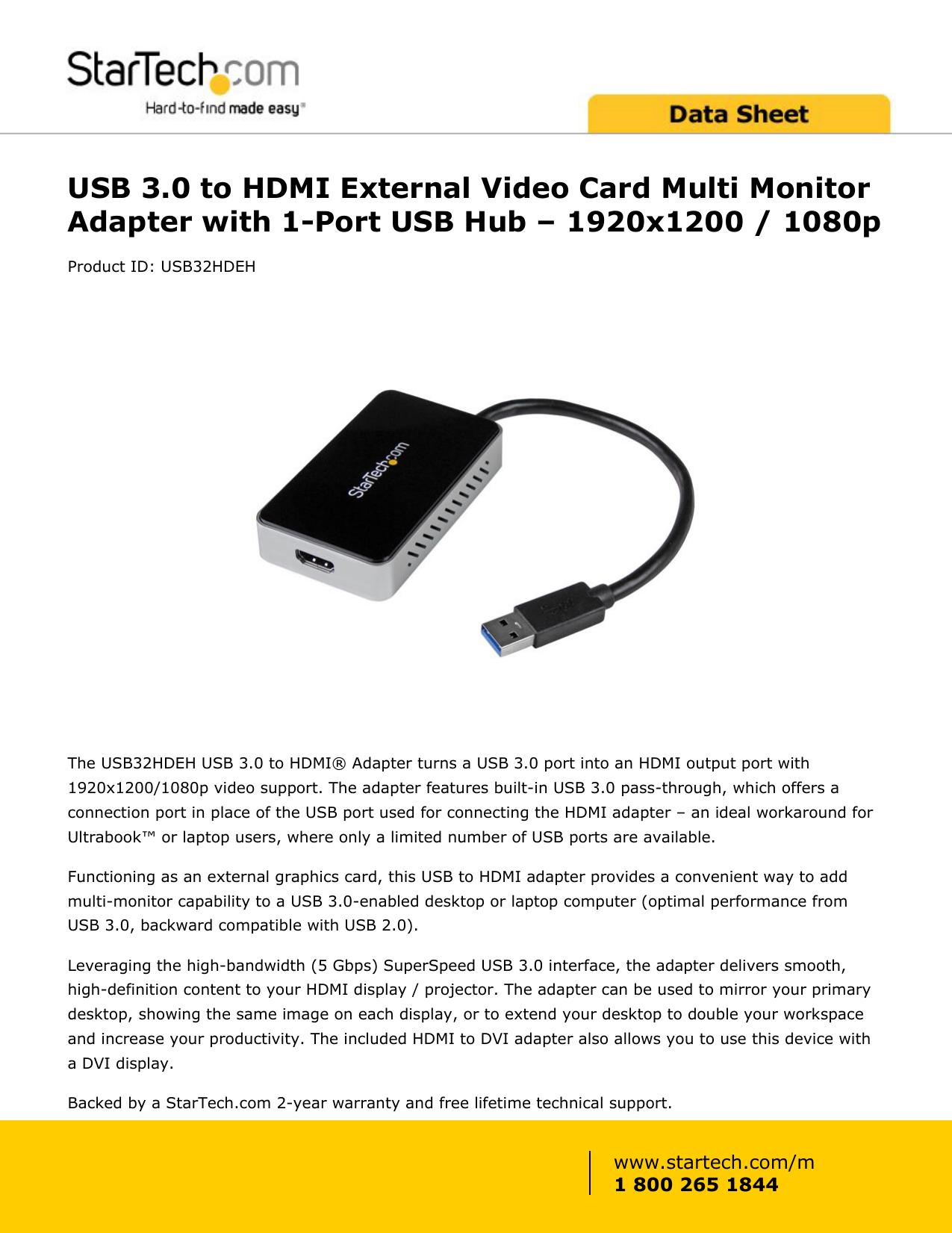 USB 3 0 to HDMI External Video Card Multi Monitor | manualzz com
