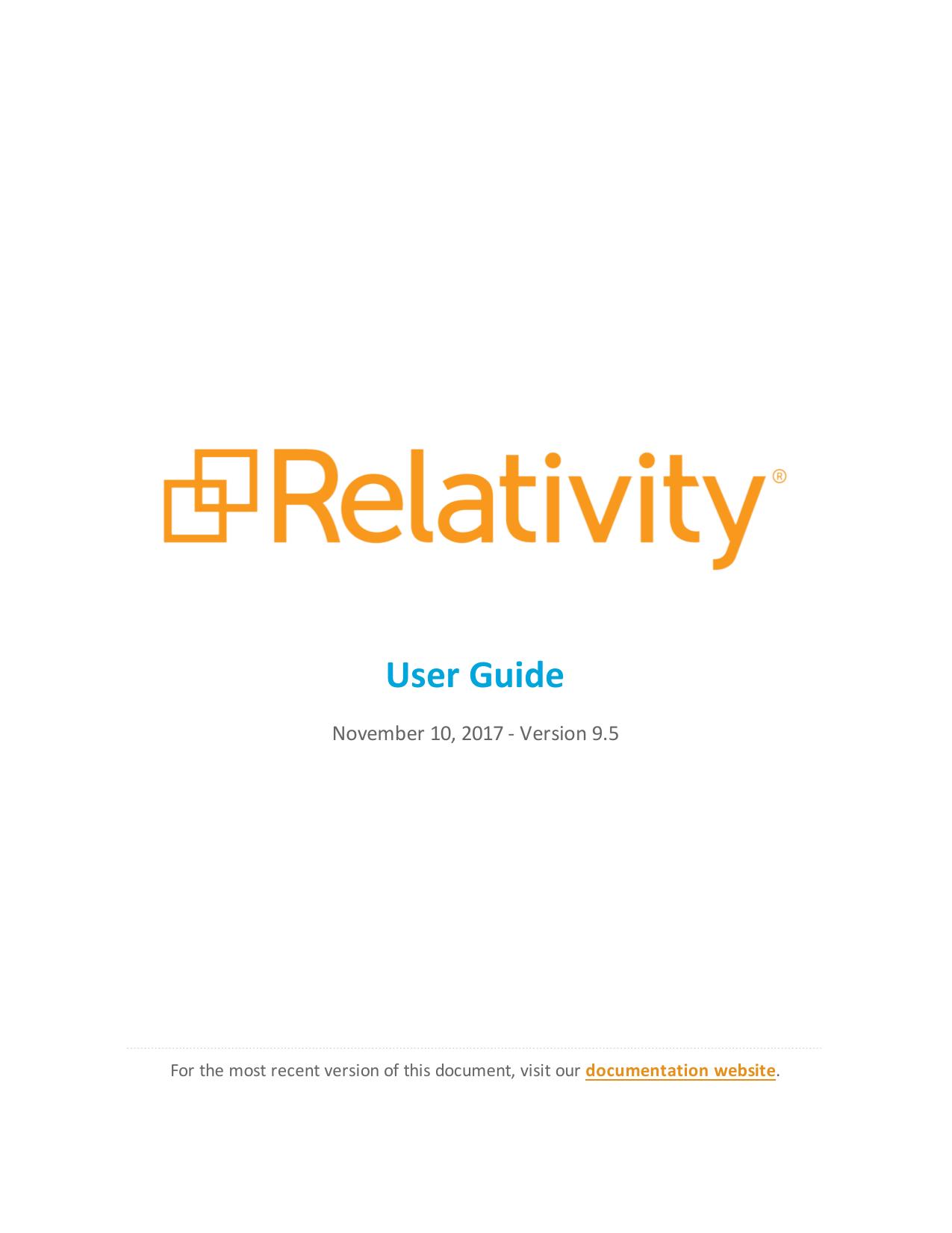 Relativity User Guide - v9 5 | manualzz com