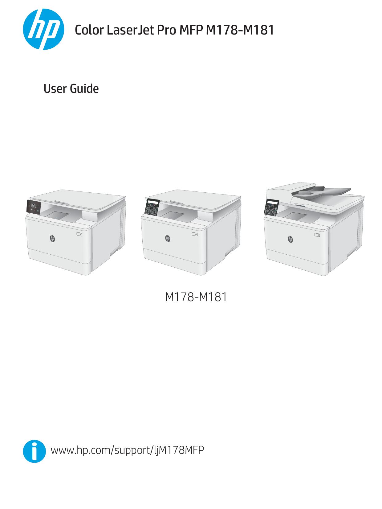 HP Color LaserJet Pro MFP M178-M181 User Guide   manualzz com