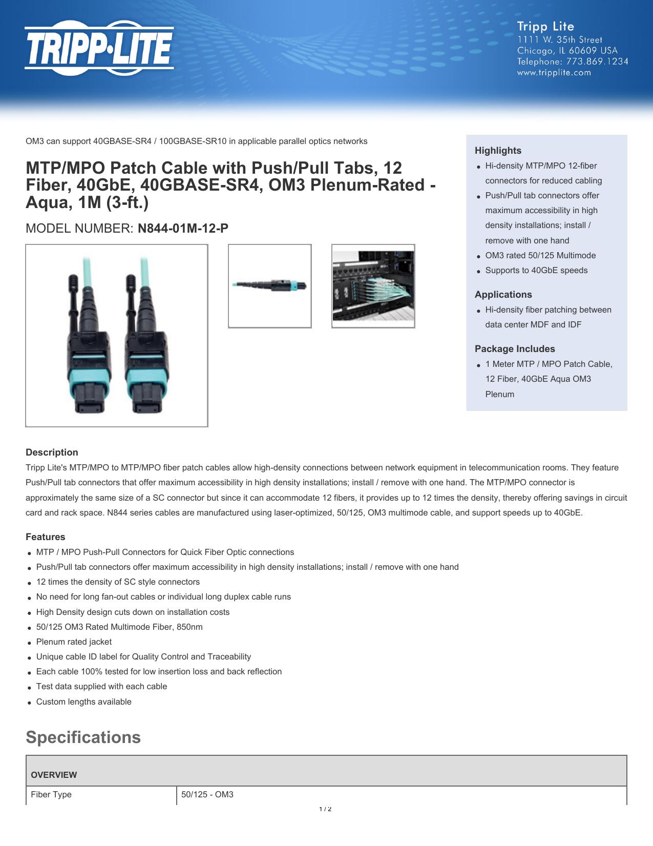 1M 3-ft. CXP 24 Fiber Tripp Lite MTP // MPO Patch Cable 100GBASE-SR10 Aqua 100GbE OM3 Plenum-rated N846-01M-24-P
