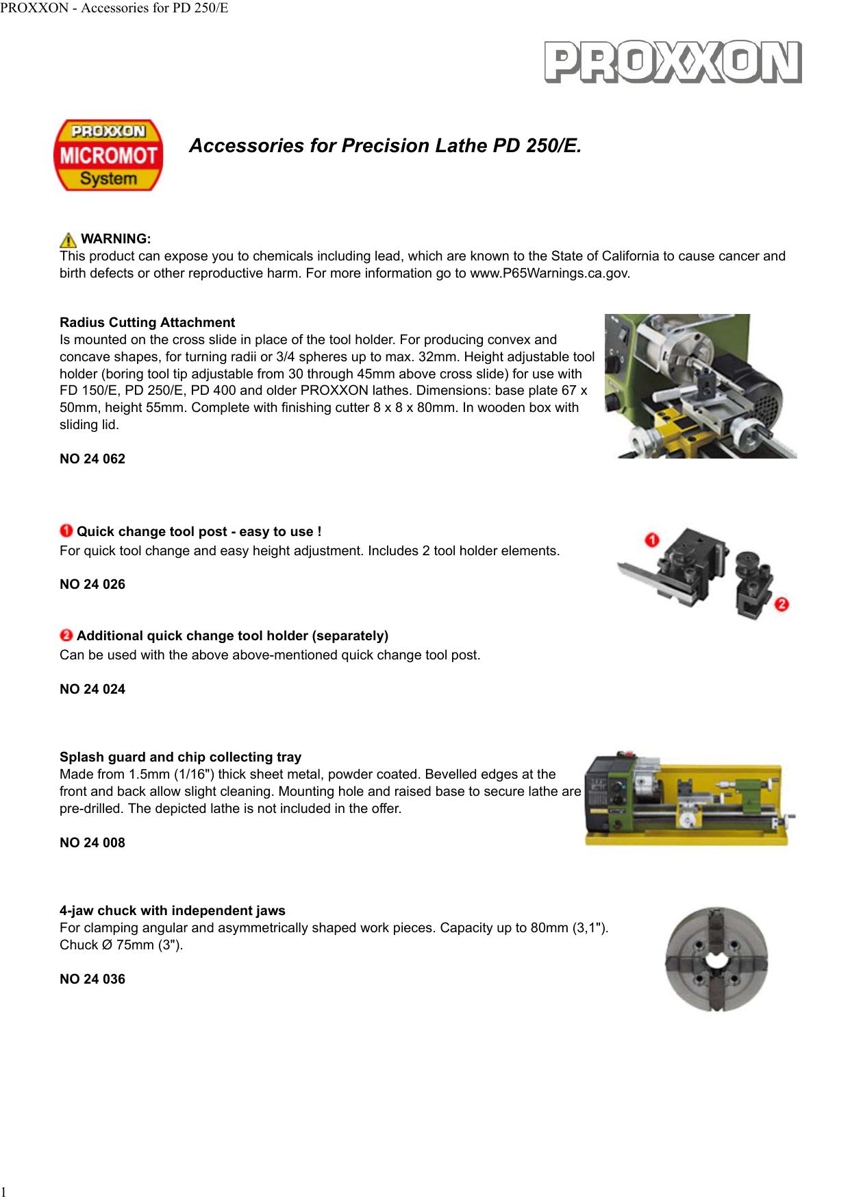 Accessories for Precision Lathe PD 250/E  | manualzz com