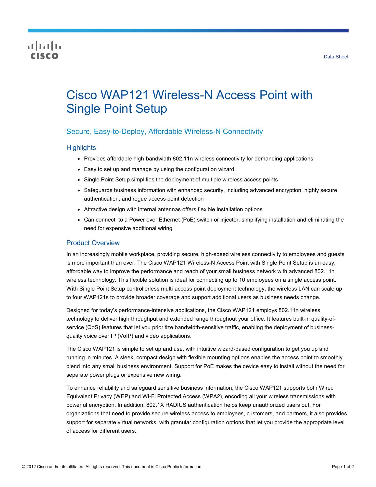 Cisco Wap121 Wireless N Access Point With Single Point Setup Wap121 A K9 Na