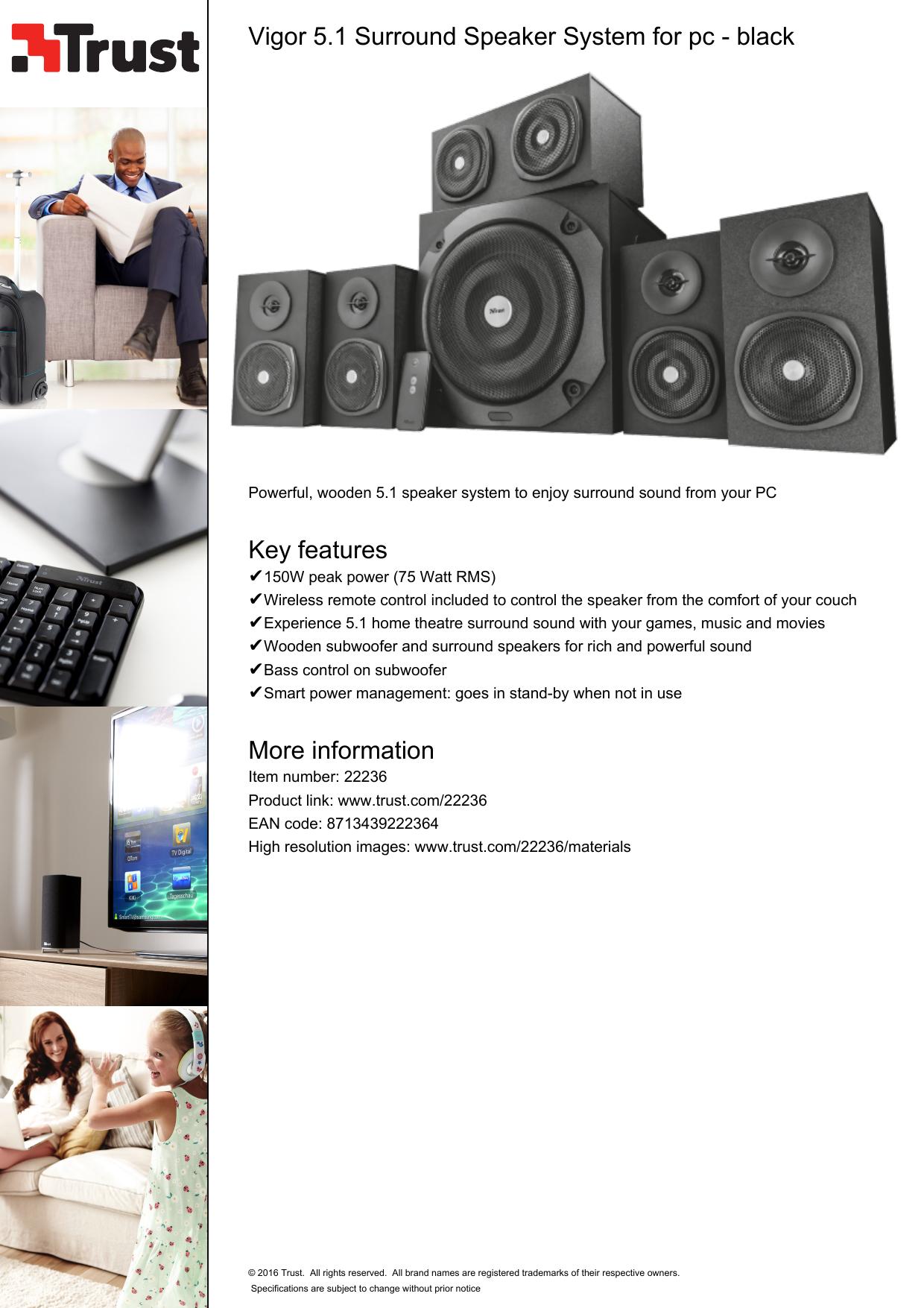 Vigor 5 1 Surround Speaker System for pc - black Key