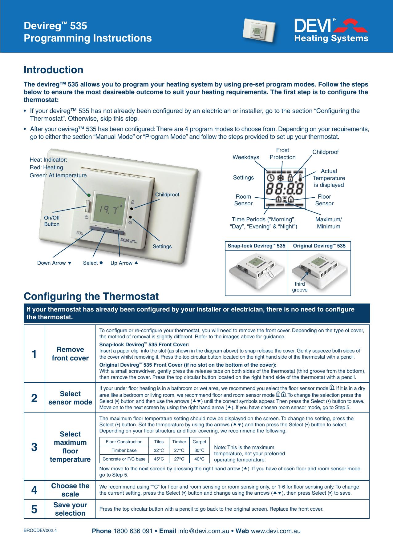 [FPER_4992]  Devireg™ 535 Programming Instructions Introduction Configuring   Manualzz   Devi Underfloor Heating Wiring Diagram      manualzz
