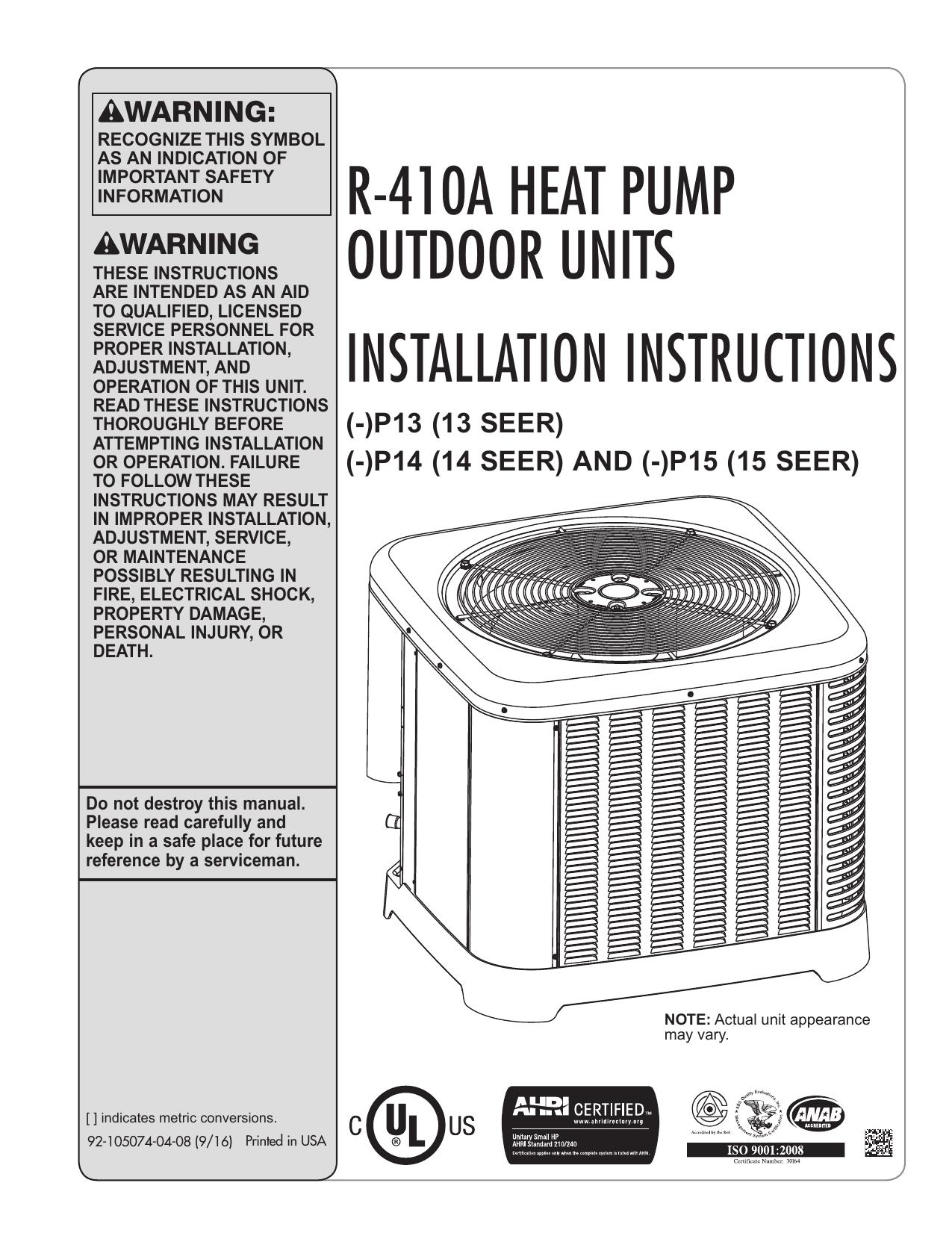 92-105074-04 Rev  08 -P13, -P14 and -P15 Heat Pump