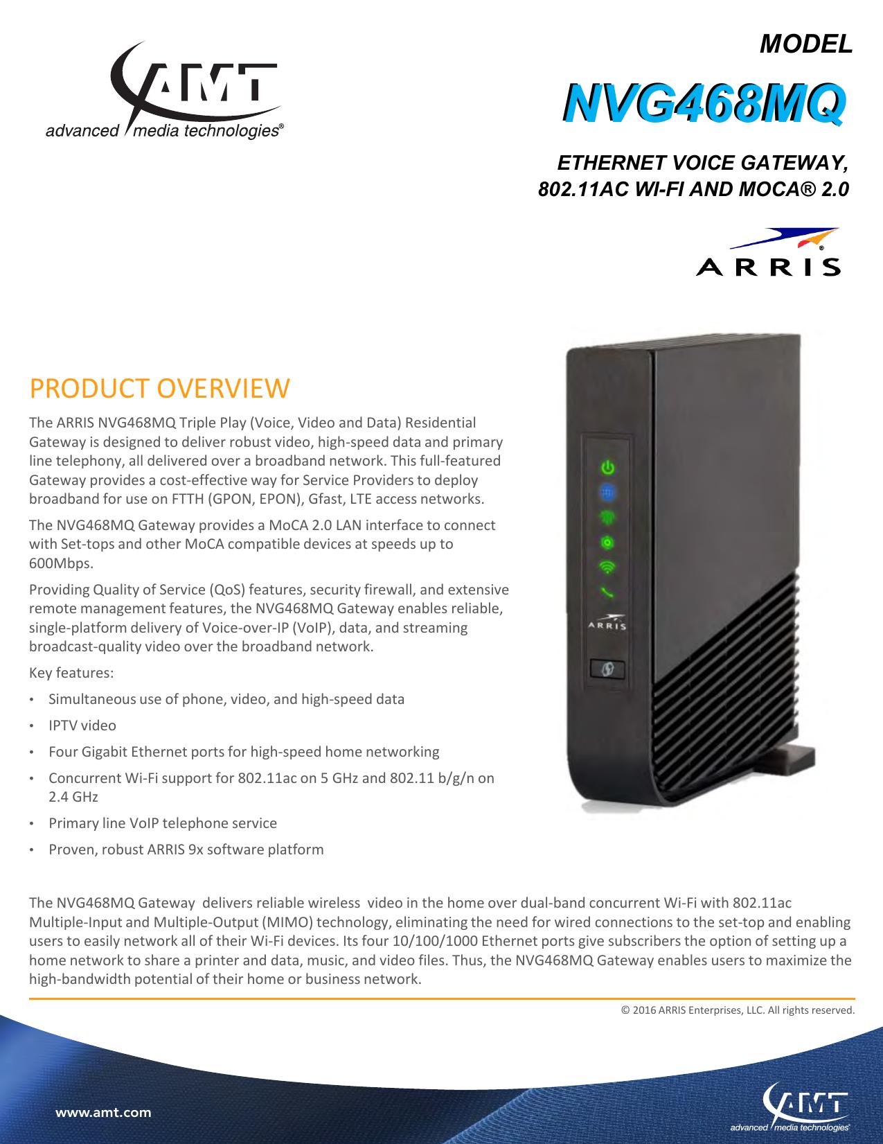 ARRIS NVG468MQ Ethernet Voice Gateway | manualzz com