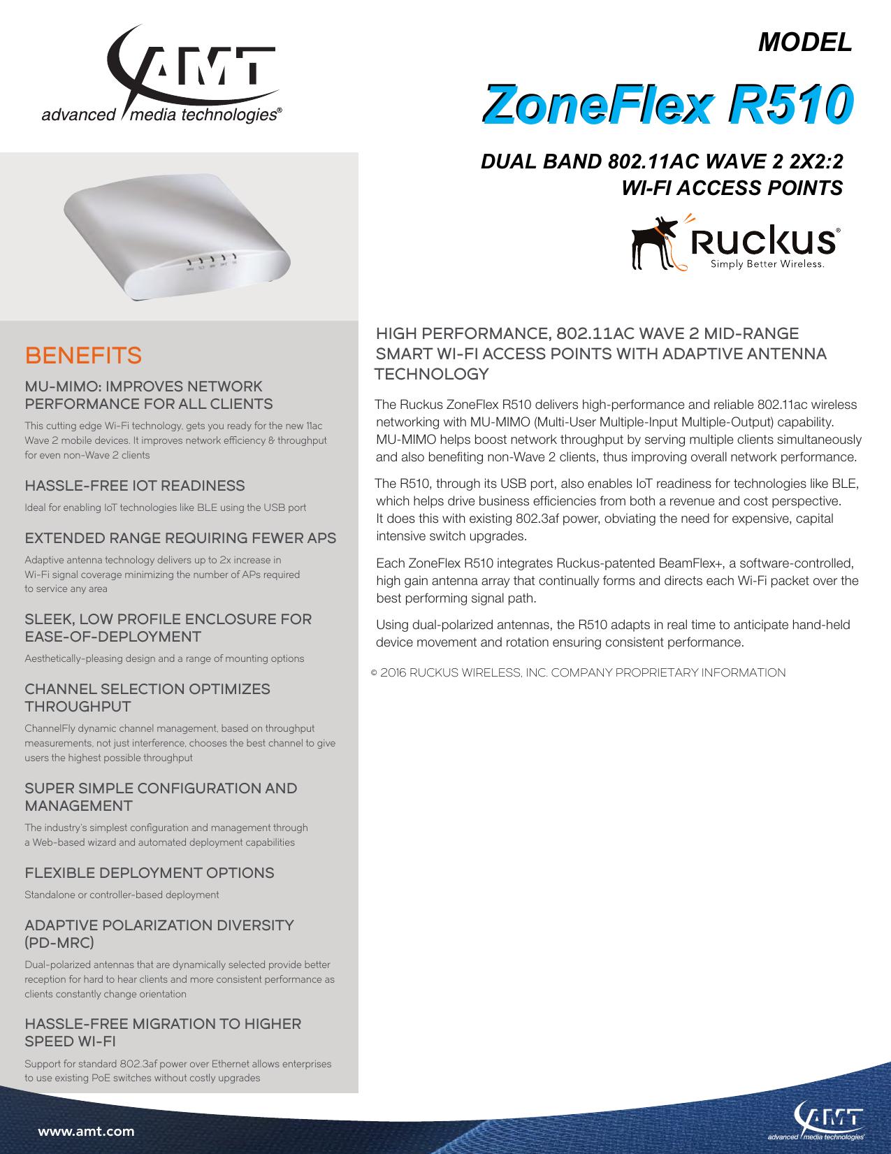 ZoneFlex R510 - Advanced Media Technologies   manualzz com