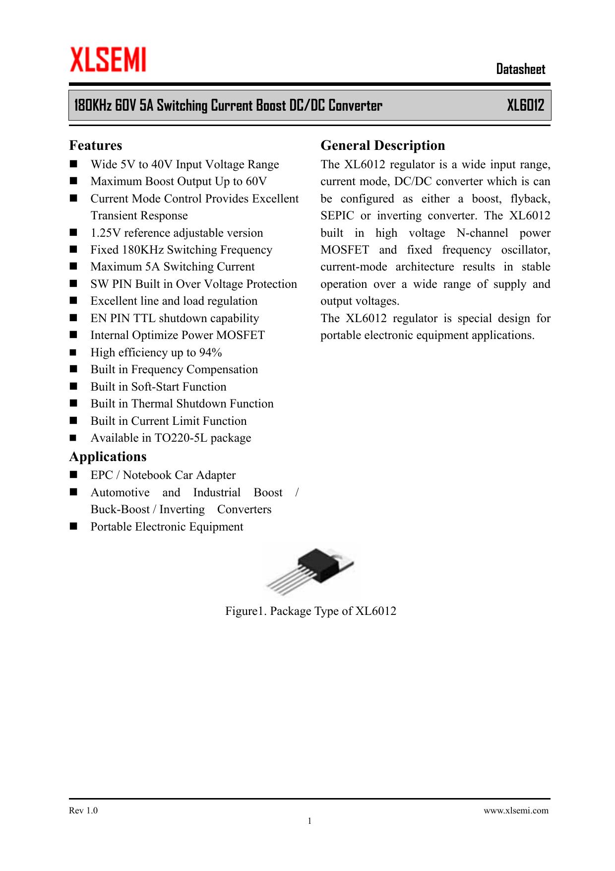 180khz 60v 5a Switching Current Boost Dc Converter Xl6012 Voltage Regulator Types