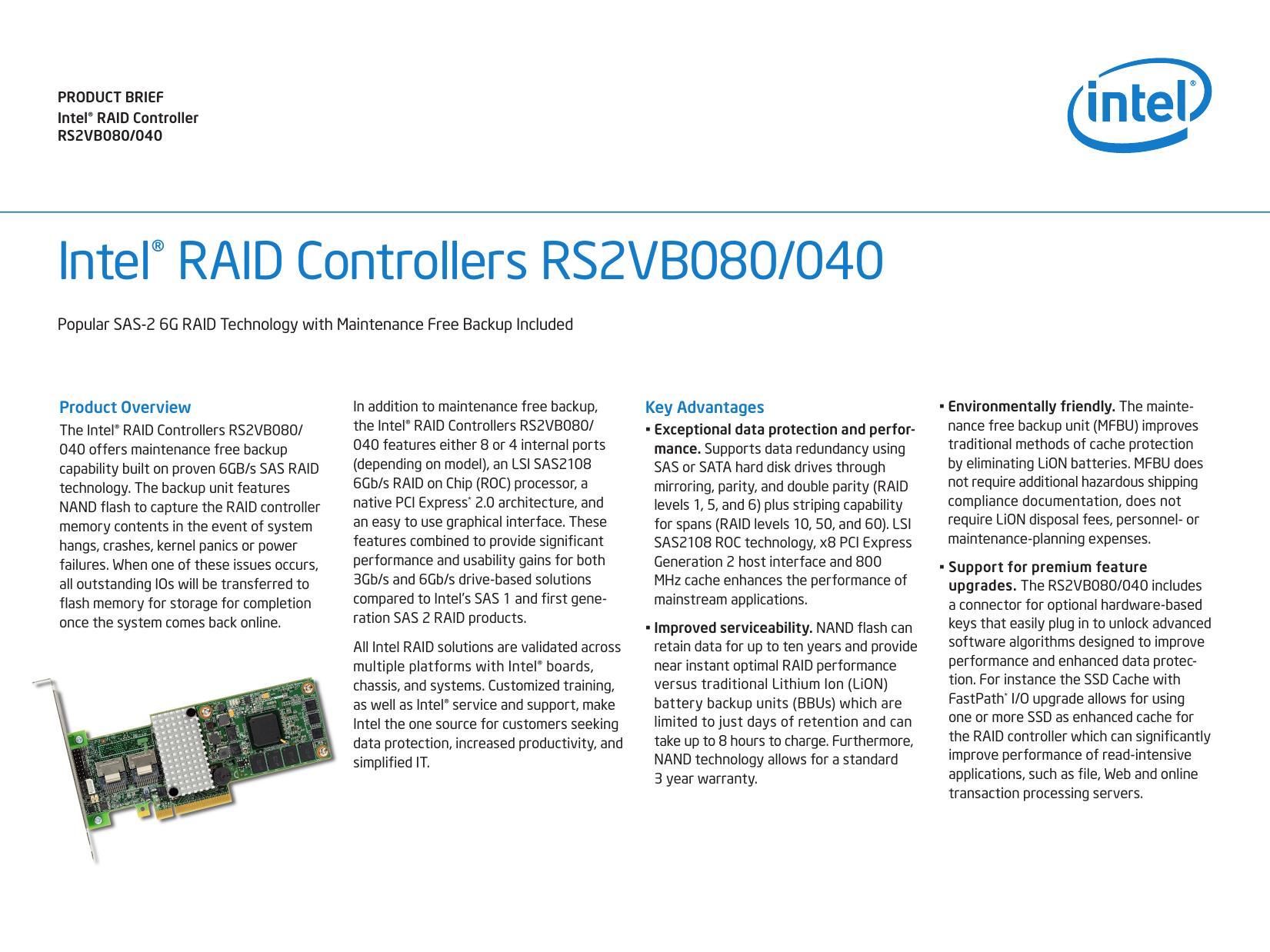 Intel RAID Controller RS2VB080/040 Product Brief 318036 | manualzz com