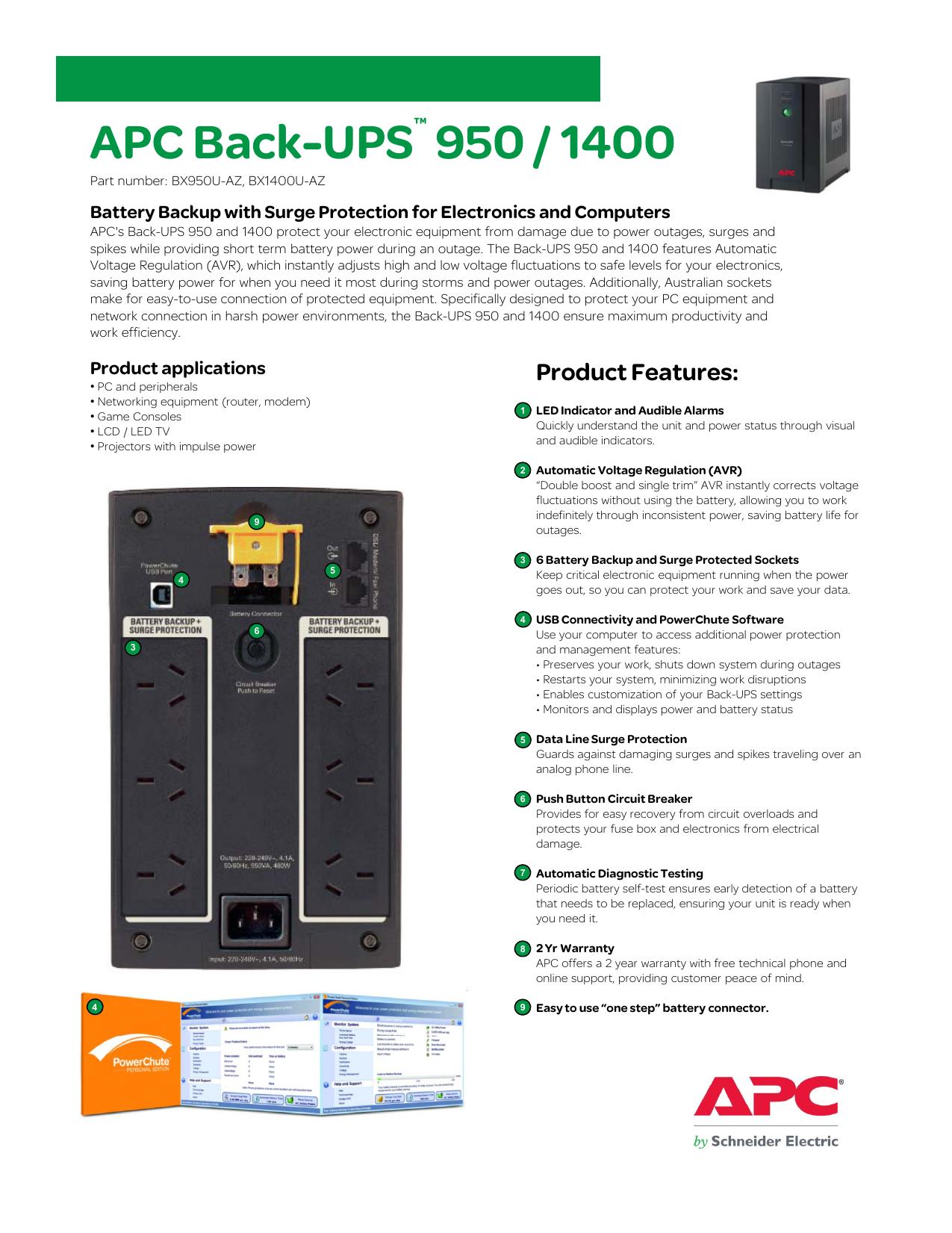 Apc Back Ups 950 1400 Push Button Fuse Box