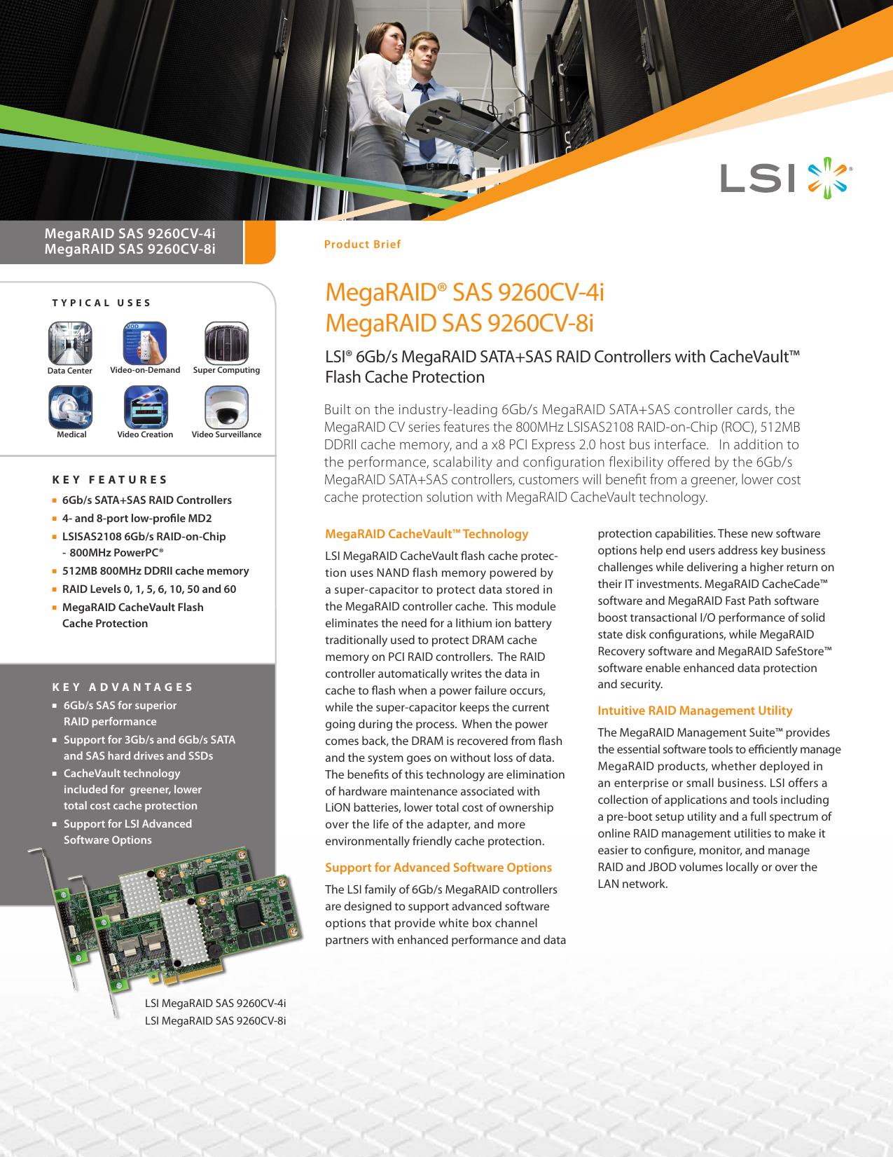 MegaRAID® SAS 9260CV-4i MegaRAID SAS 9260CV-8i | manualzz com