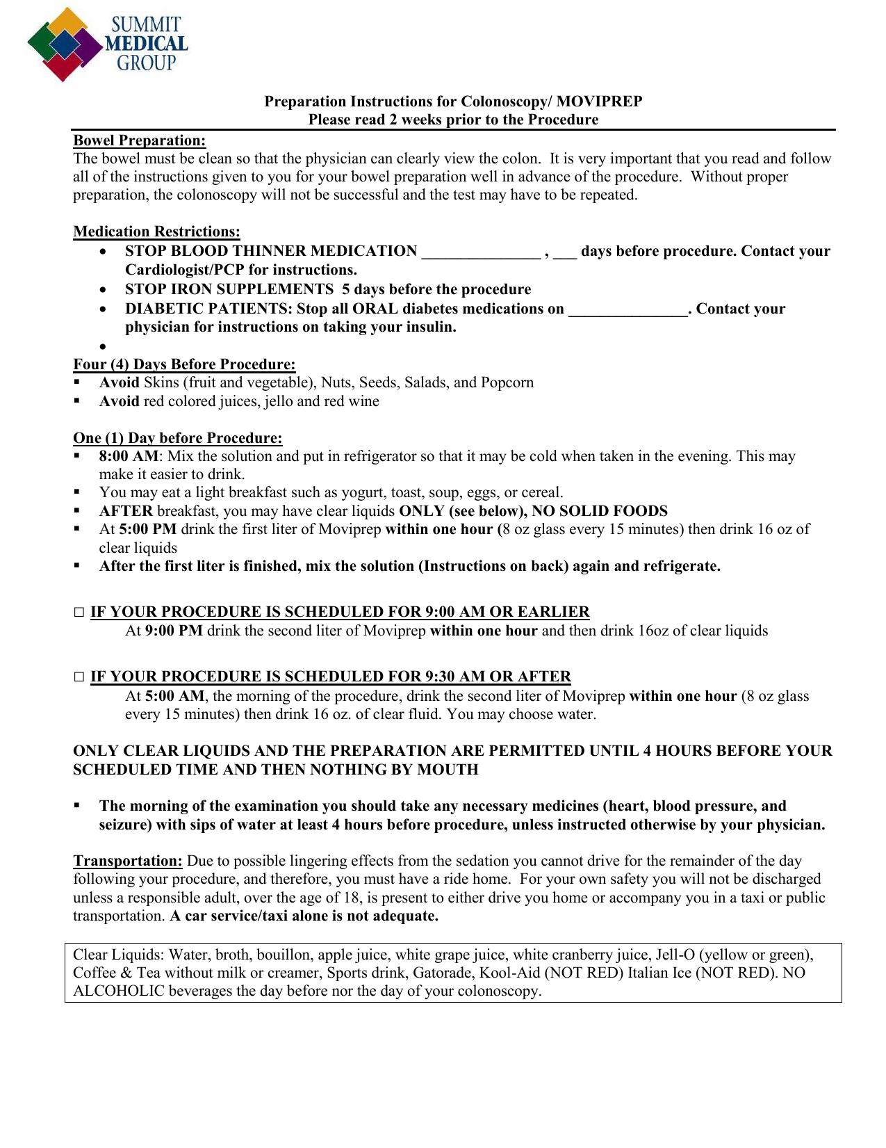 Preparation Instructions for Colonoscopy | manualzz com