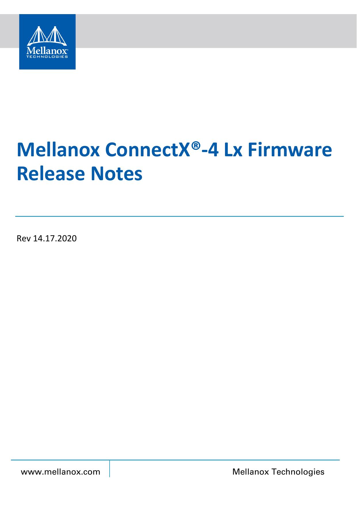 Mellanox ConnectX®-4 Lx Firmware Release Notes | manualzz com
