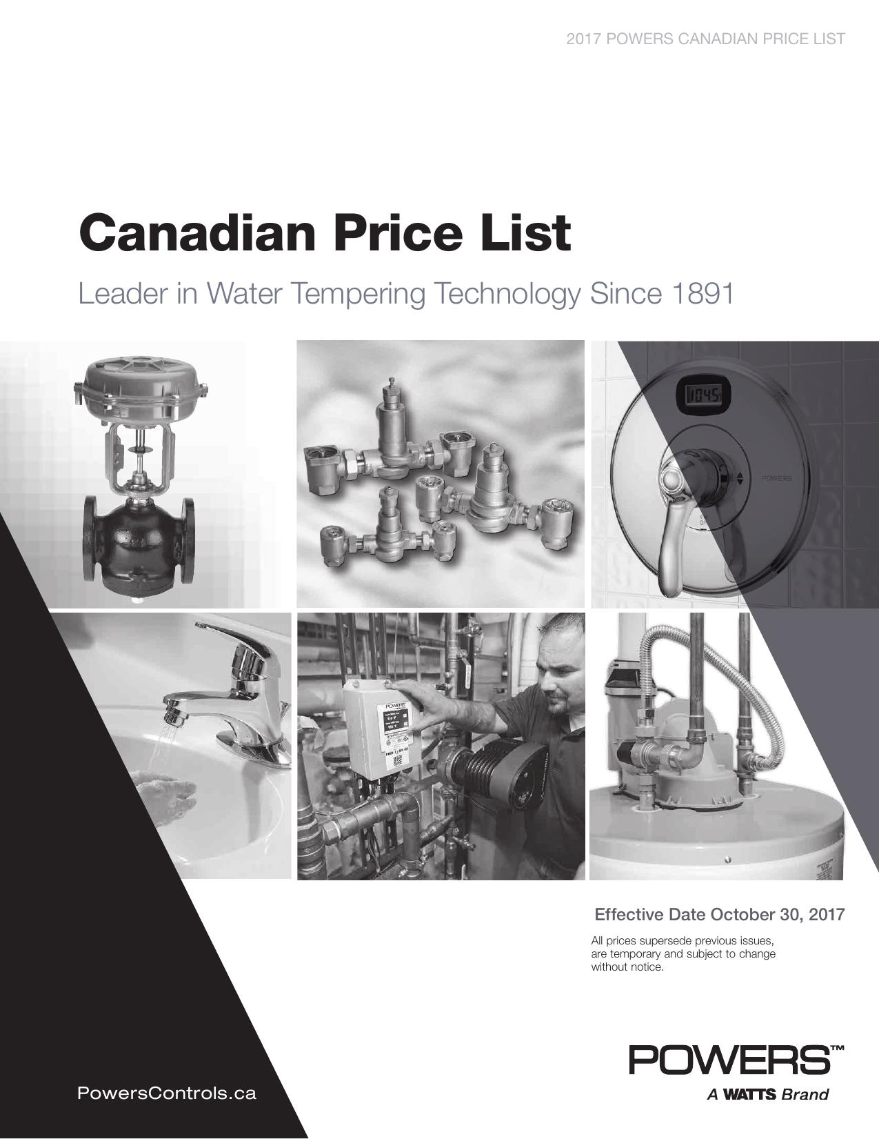 Canadian Price List - Watts Water Technologies | manualzz com
