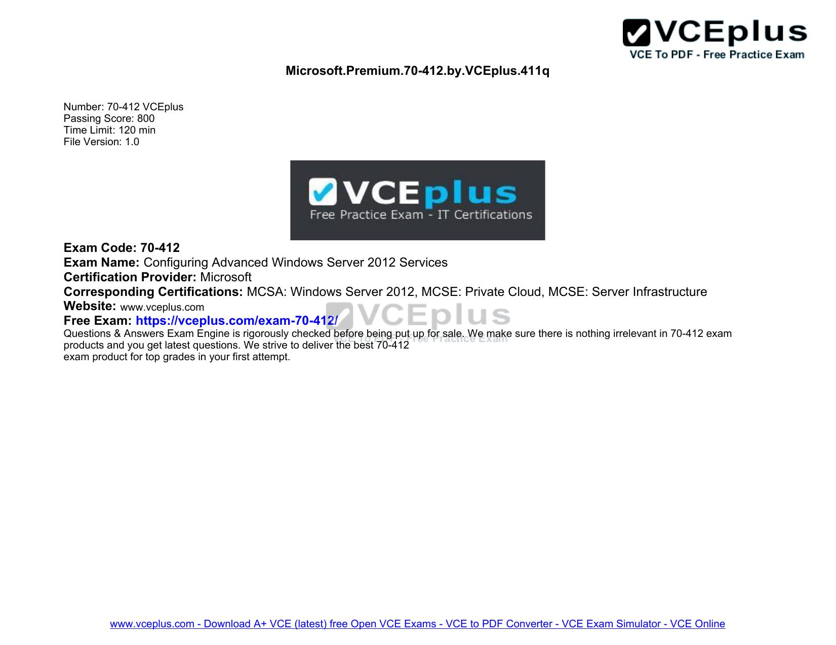 Microsoft Premium 70-412 by VCEplus 411q Exam Code: 70 | manualzz com