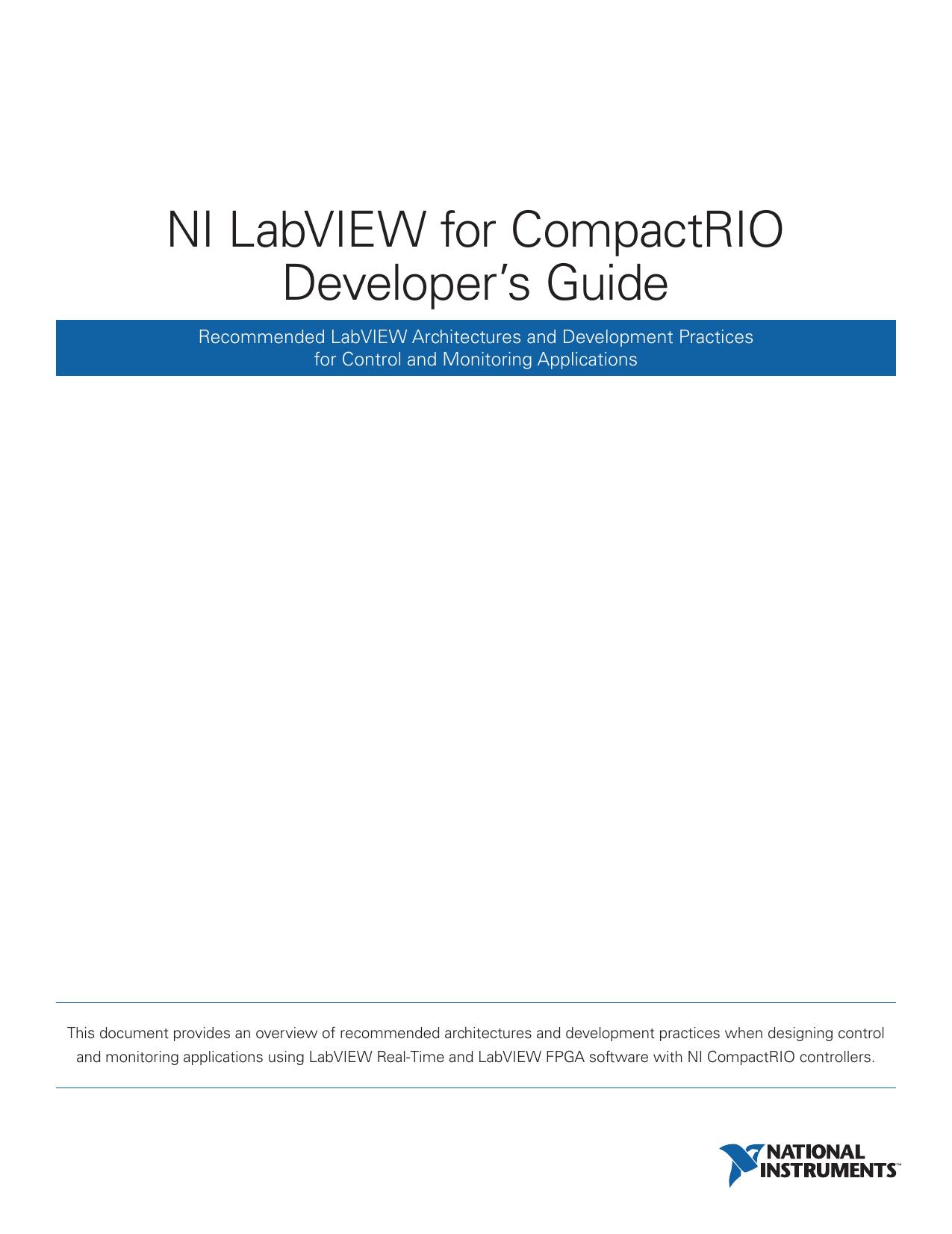 NI LabVIEW for CompactRIO Developer`s Guide | manualzz com