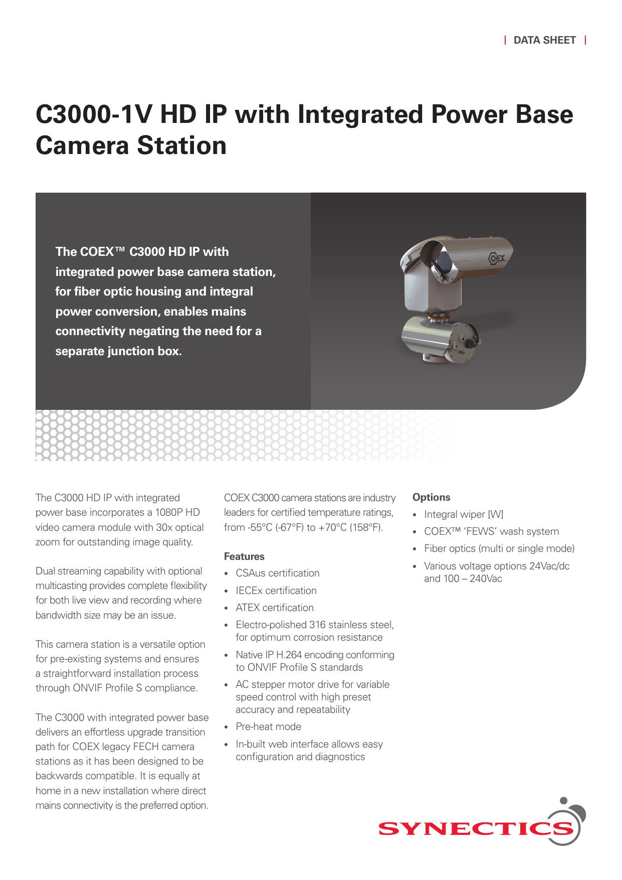 C3000-1V HD IP PTZ Camera Station (integrated power base) | manualzz com