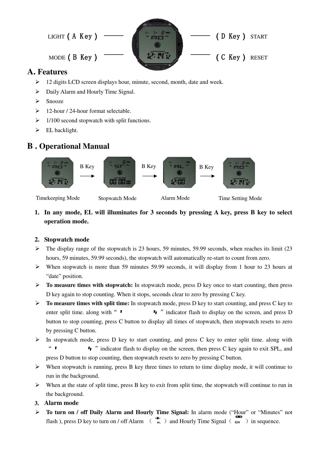 A  Features B   Operational Manual   manualzz com