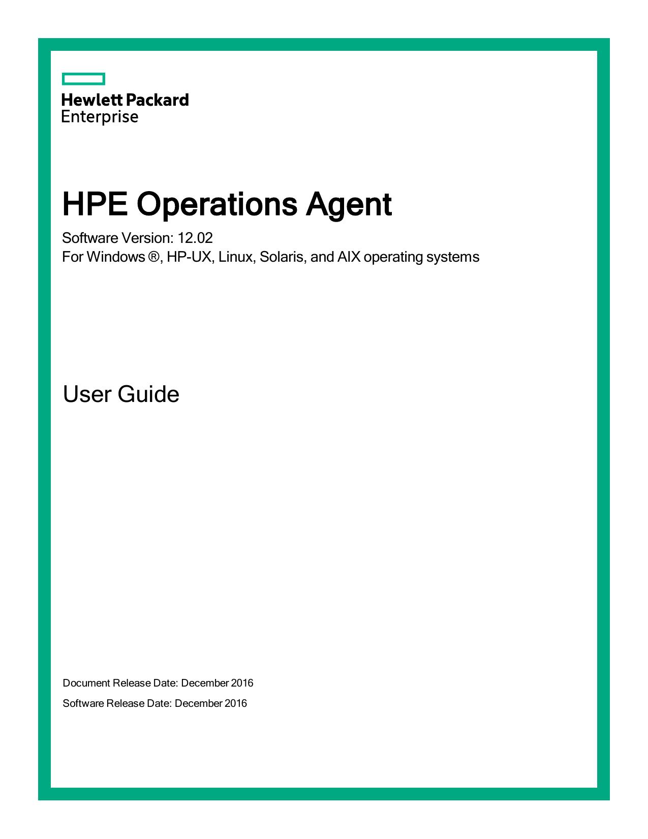HPE Operations Agent - User Guide | manualzz com