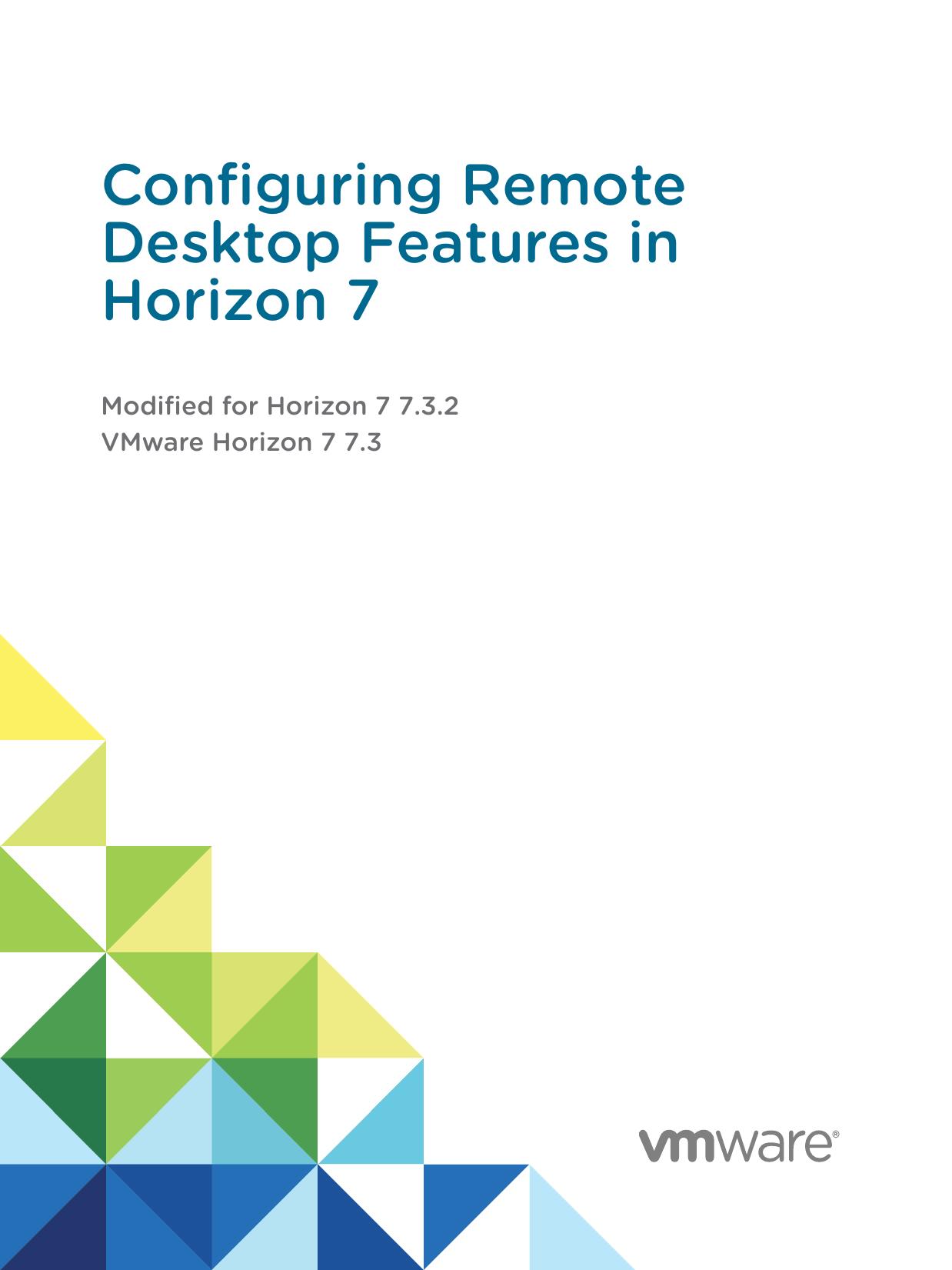 Configuring Remote Desktop Features in Horizon 7 | manualzz com