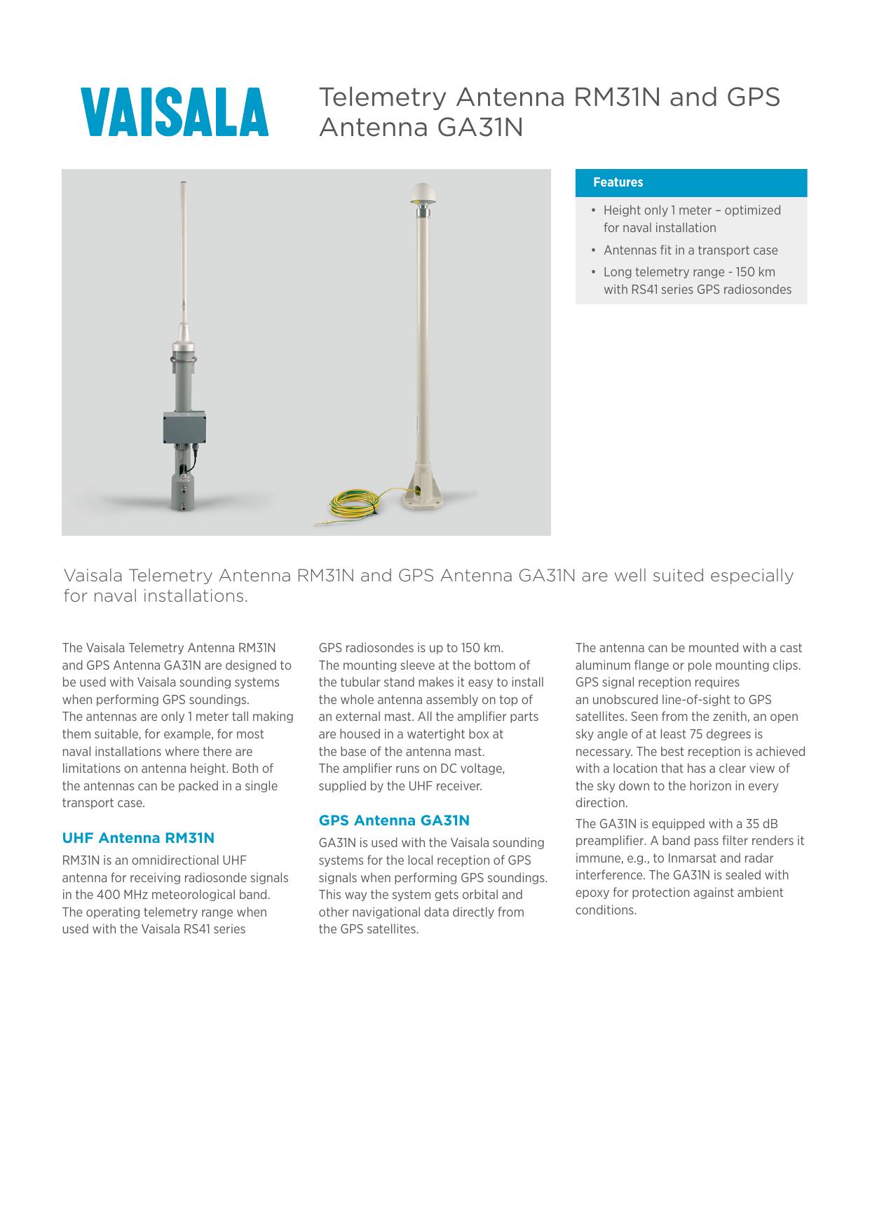 Telemetry Antenna RM31N and GPS Antenna GA31N B211000EN-C