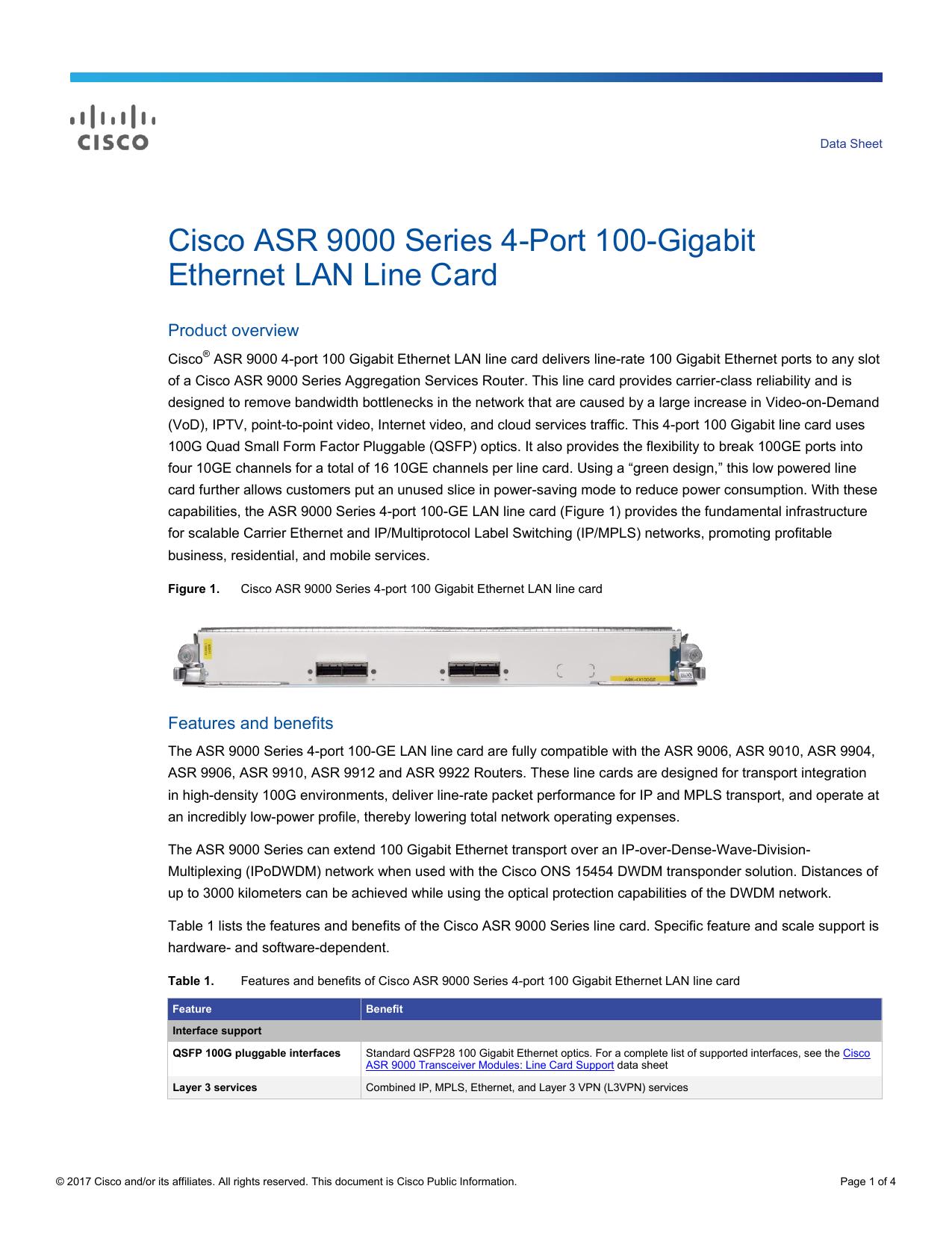 Cisco ASR 9000 Series 4-Port 100-Gigabit Ethernet LAN Line